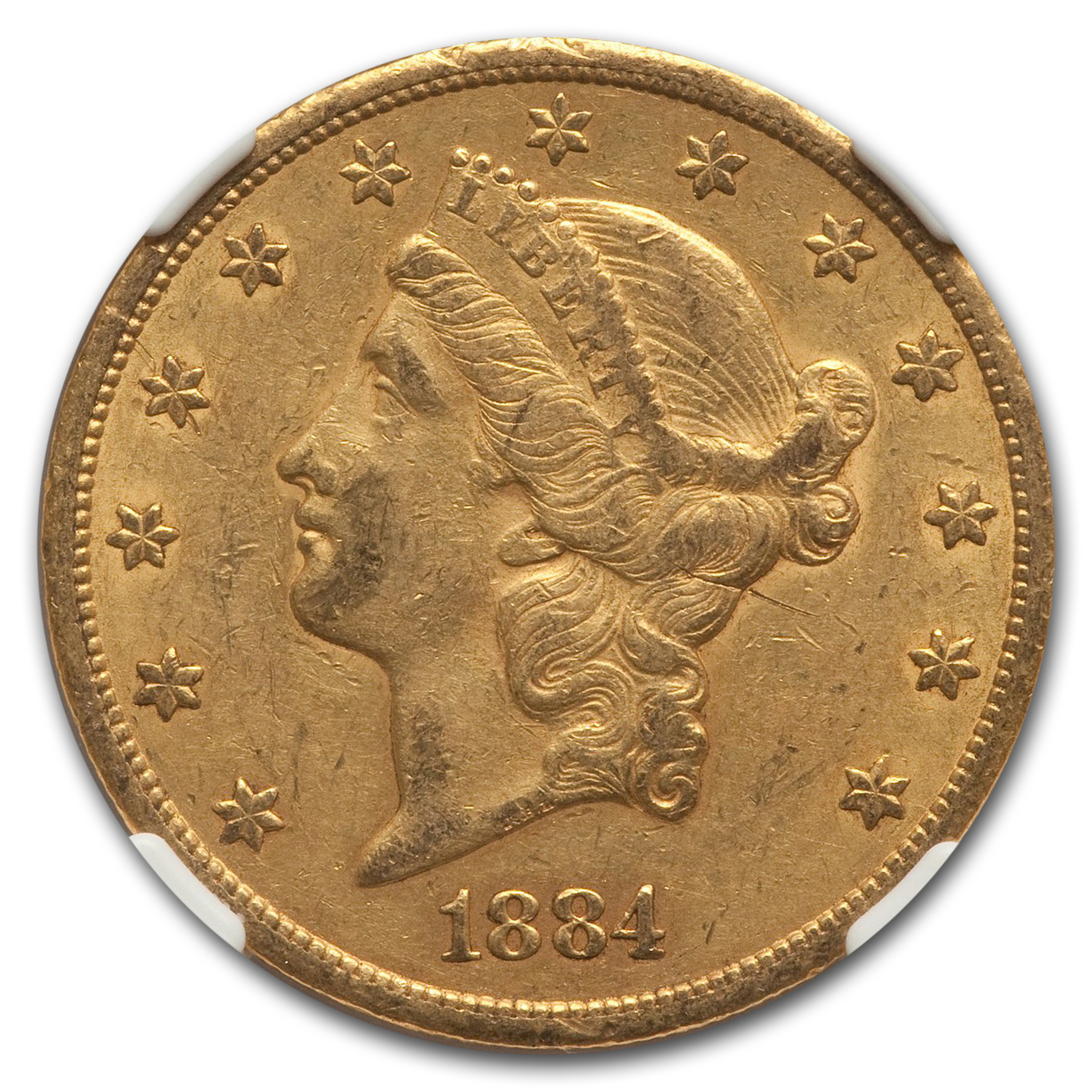 1884-CC $20 Gold Liberty Double Eagle - AU-53 NGC