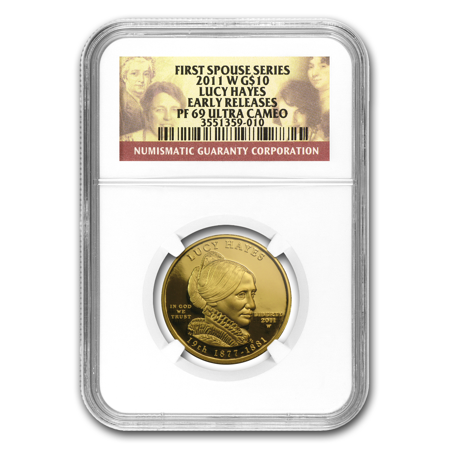2011-W 1/2 oz Proof Gold Lucy Hayes PF-69 NGC