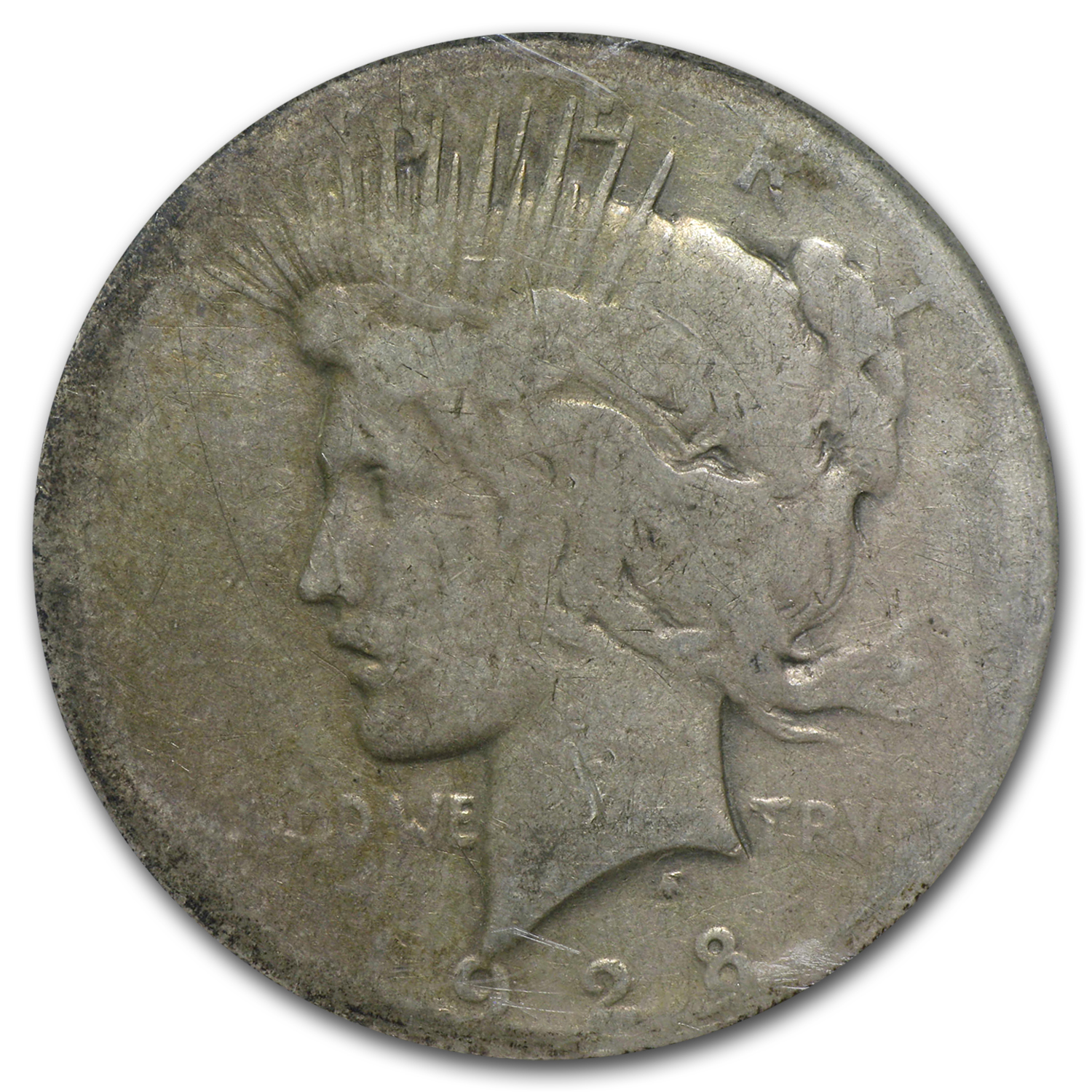 1928 Peace Dollar Almost Good Details - Damaged NCS