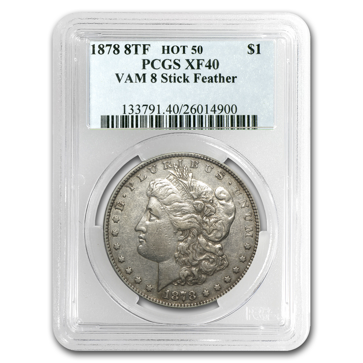 1878 Morgan Dollar 8 TF XF-40 PCGS (VAM-8, Stick Feather, Hot-50)