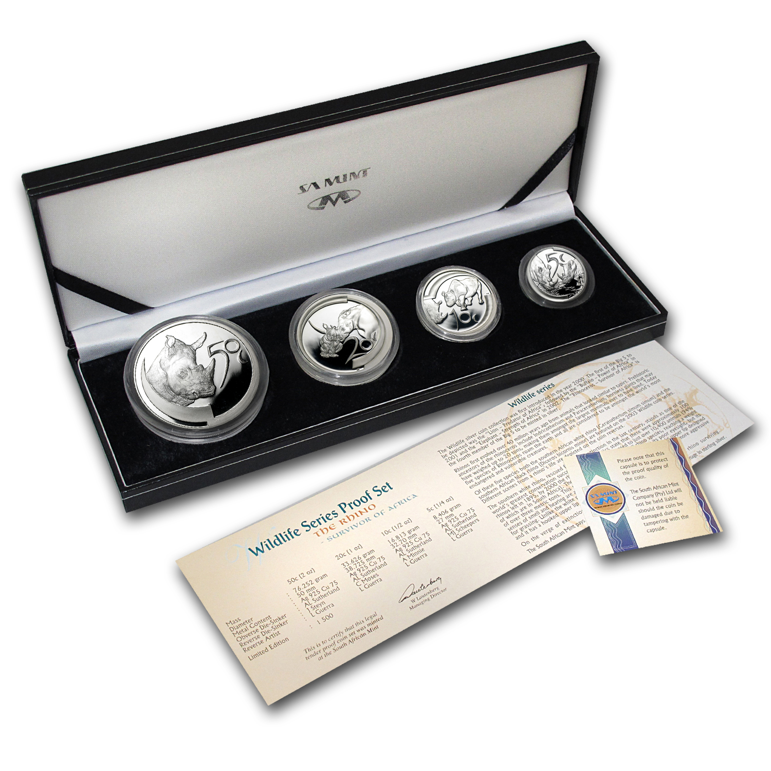 2003 South Africa 4-Coin Silver Rhino Proof Set