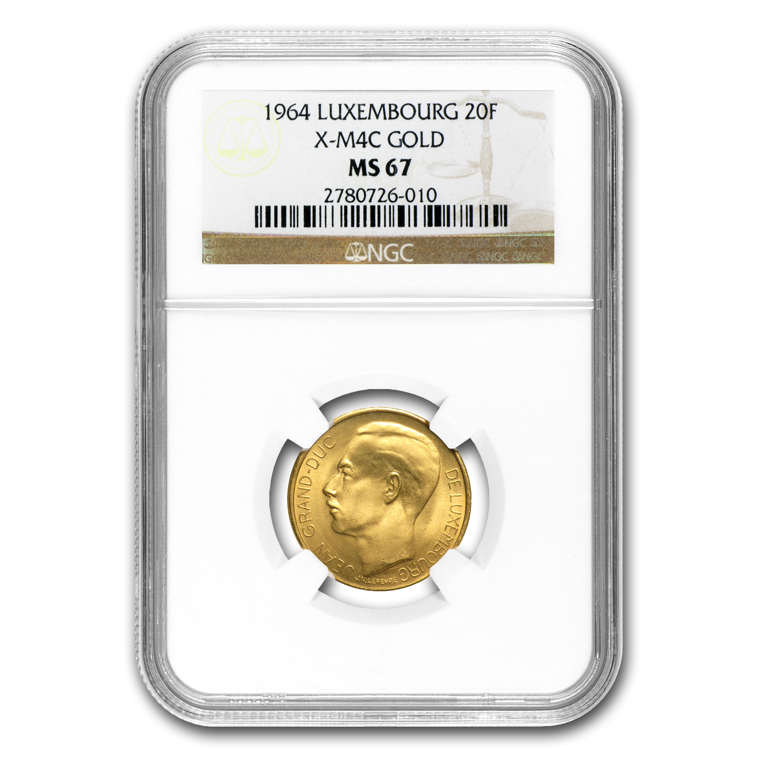 Luxembourg 1964 Gold 20 Francs Coronation NGC MS-67