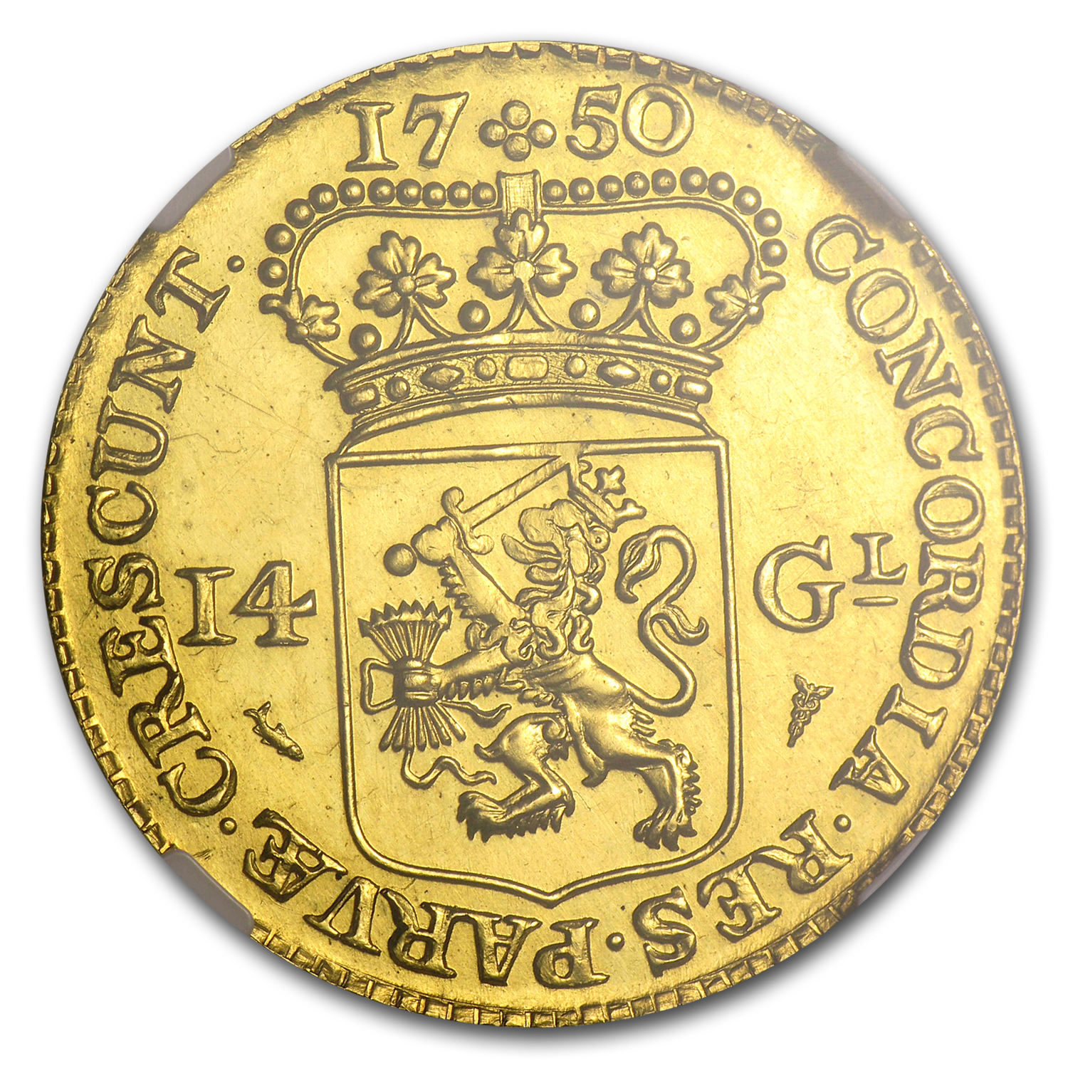 Holland 1750 14 Gulden Gold (1960 Restrike) NGC MS-65