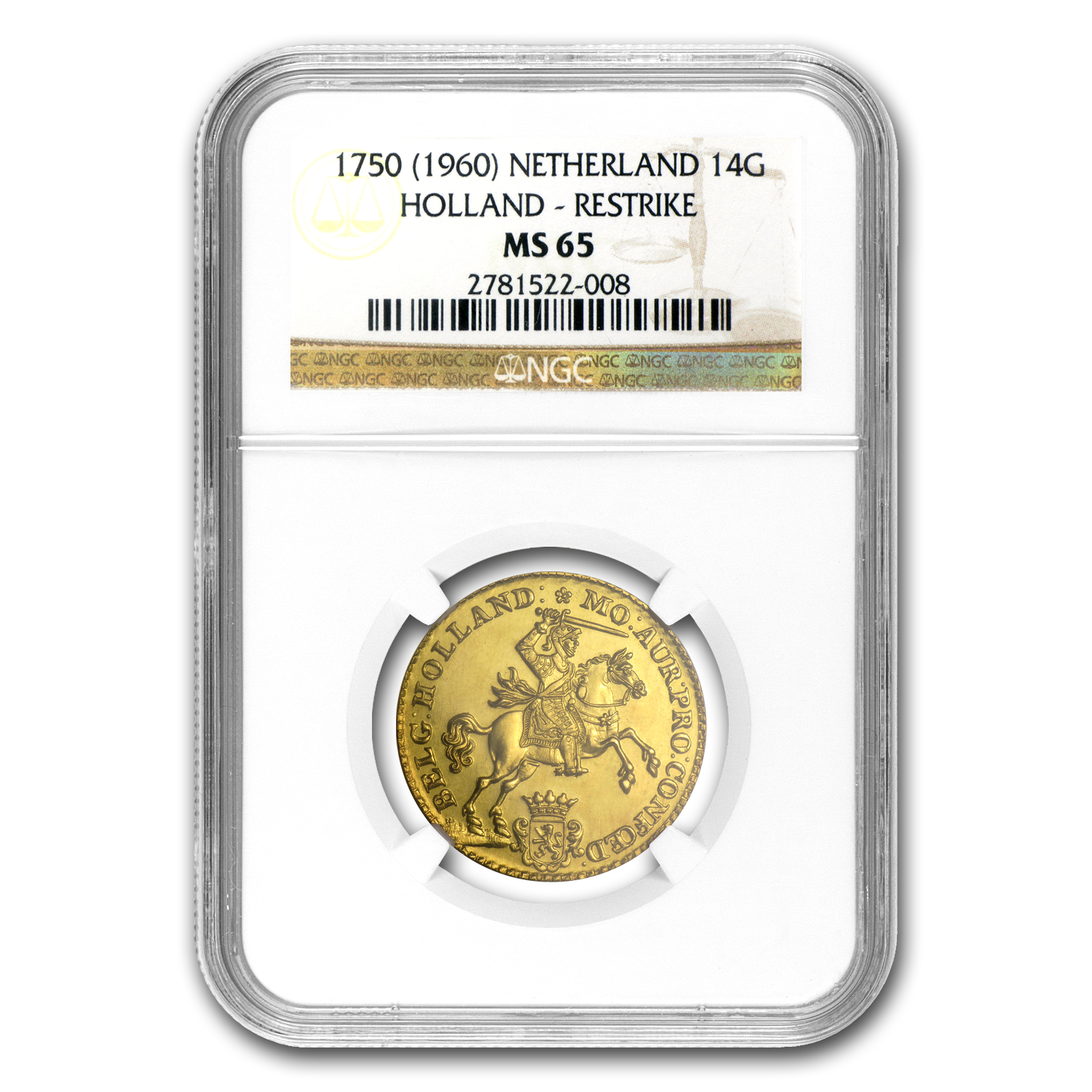 1750 Holland Gold 14 Gulden MS-65 NGC (1960 Restrike)