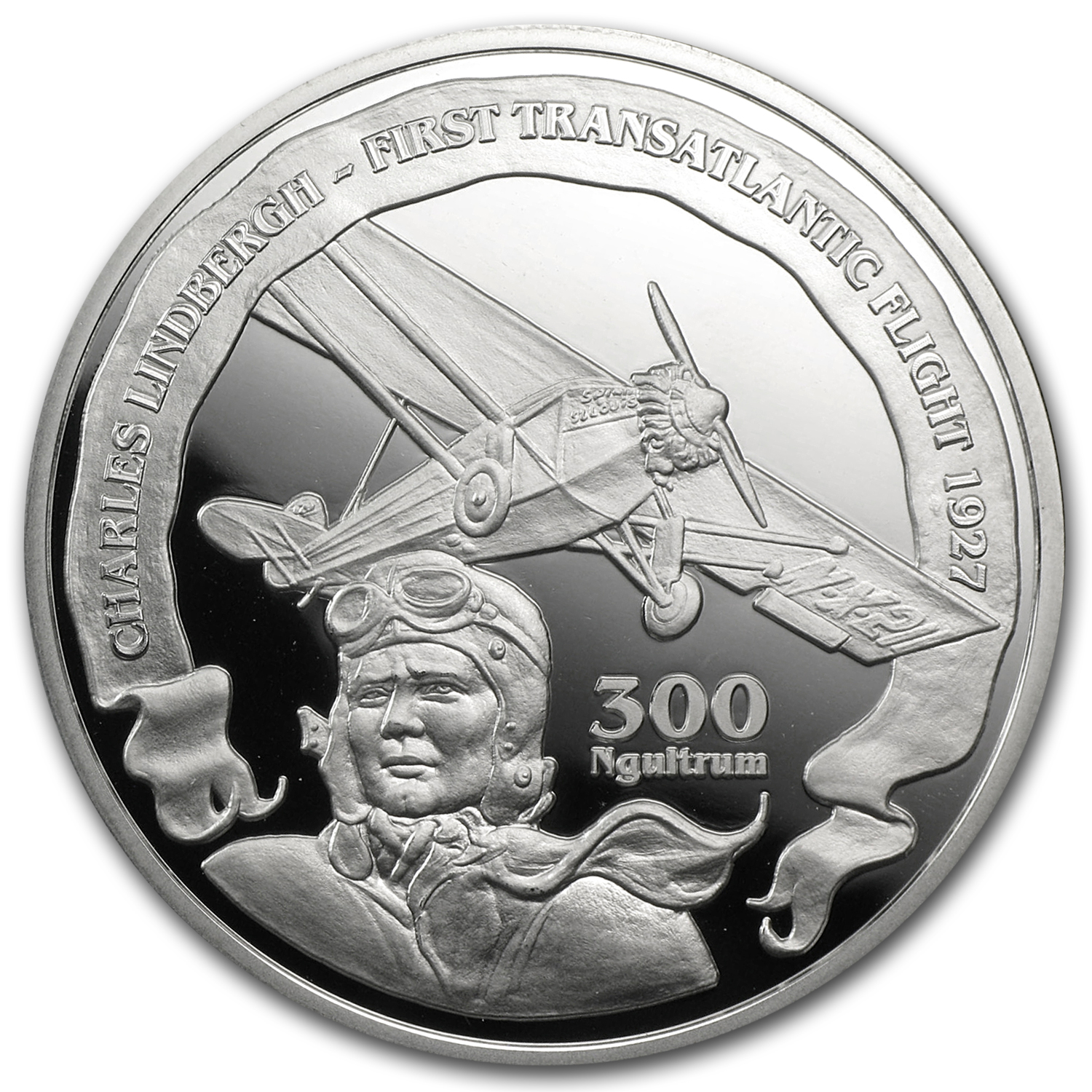 2010 Bhutan Silver Transatlantic Flight Charles Lindbergh Proof