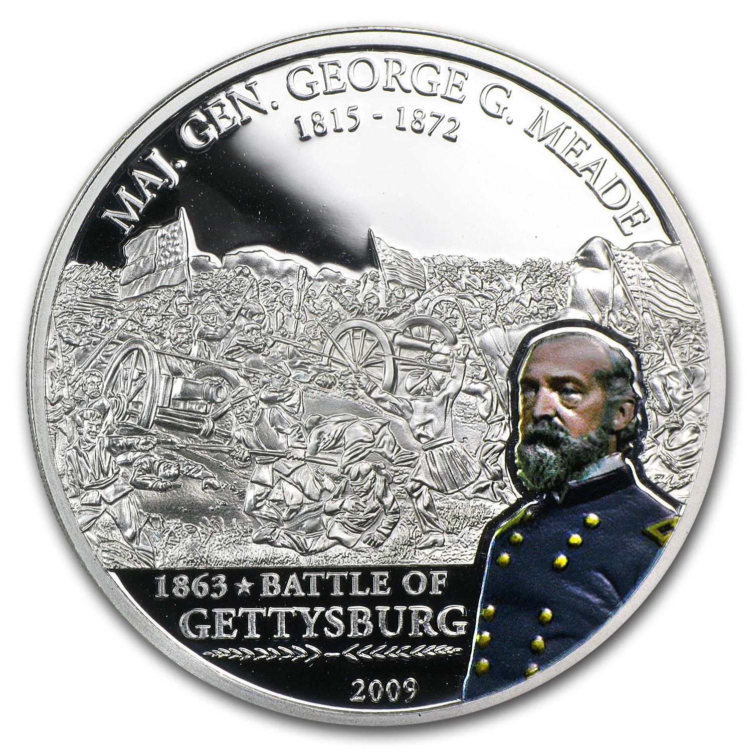 Cook Islands 2009 Silver $5 Great Battles Commanders-George Meade