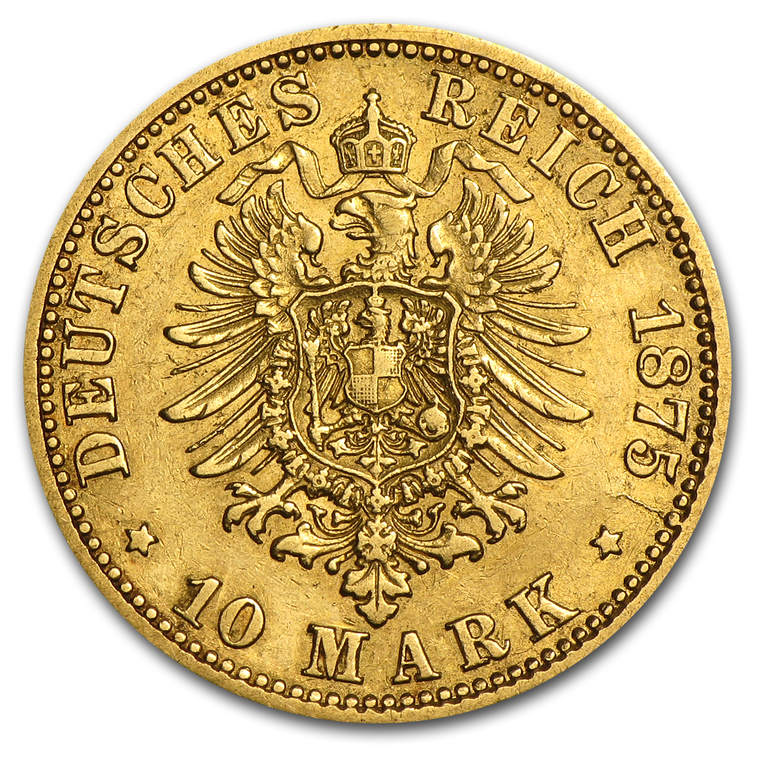 1875-1913 Germany Gold 10 Marks Hamburg Avg Circ (Random)