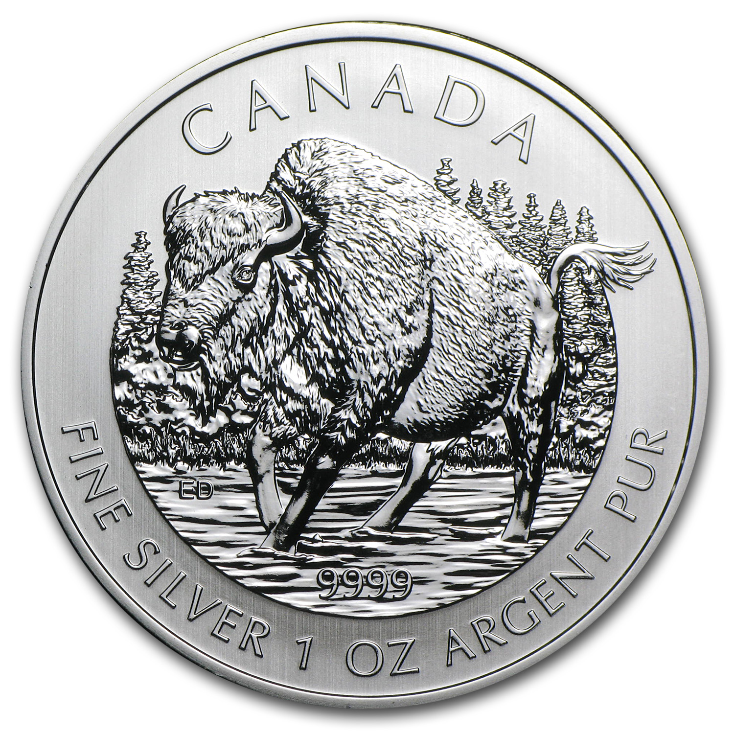 2013 1 oz Silver Canadian Wildlife Series Wood Bison