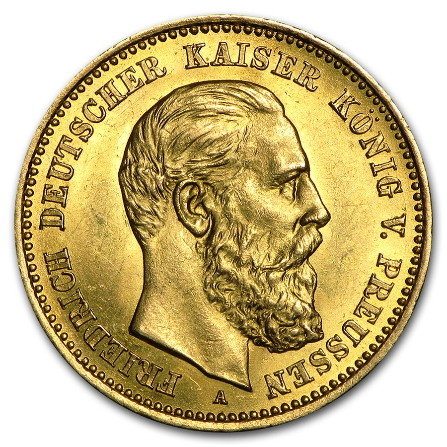 1888 Germany Gold 10 Mark Prussia Friedrich Iii Avg Circ