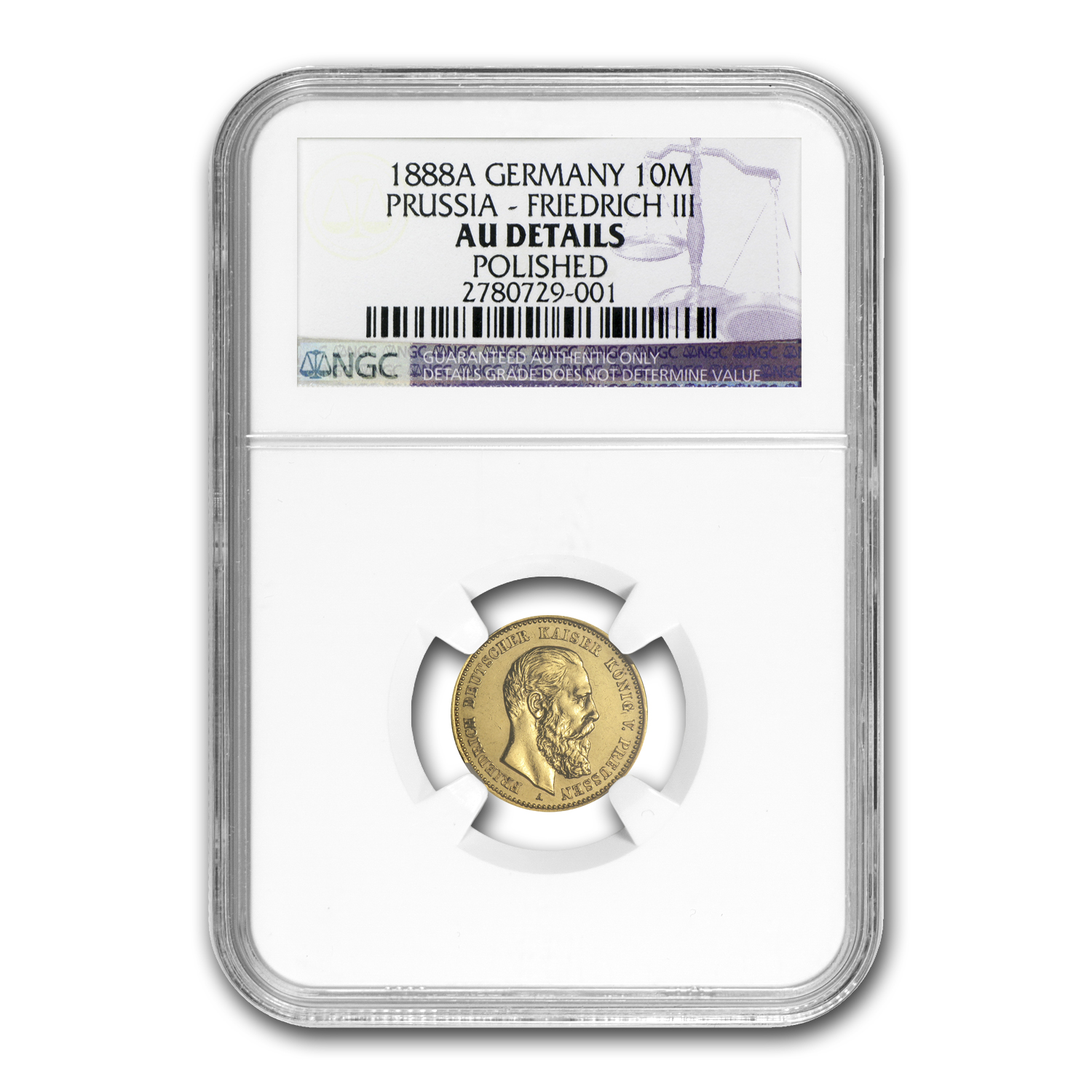 Germany (Prussia) 1888 10 Mark Gold Friedrich III NGC AU