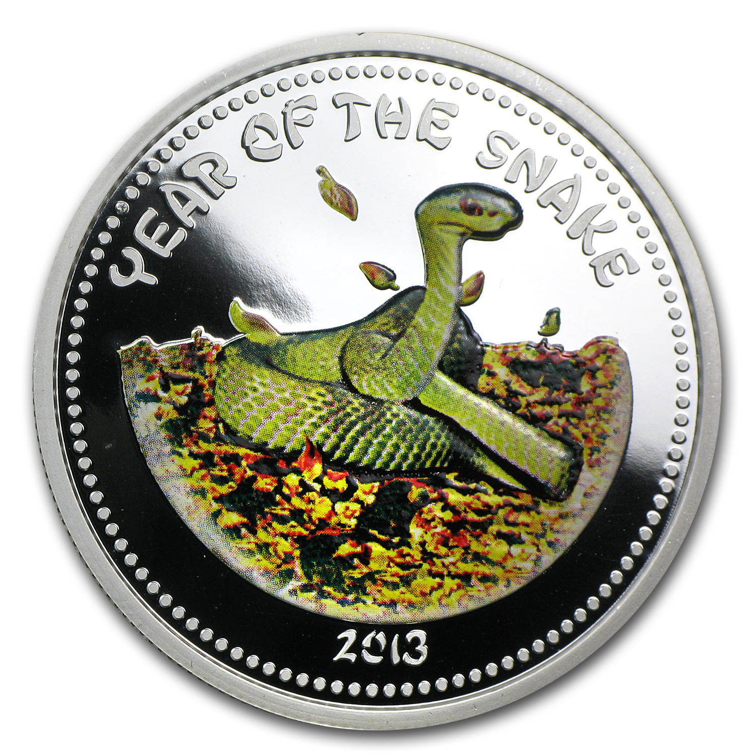 2013 Laos 1 oz Silver Year of the Snake Proof (Colorized)