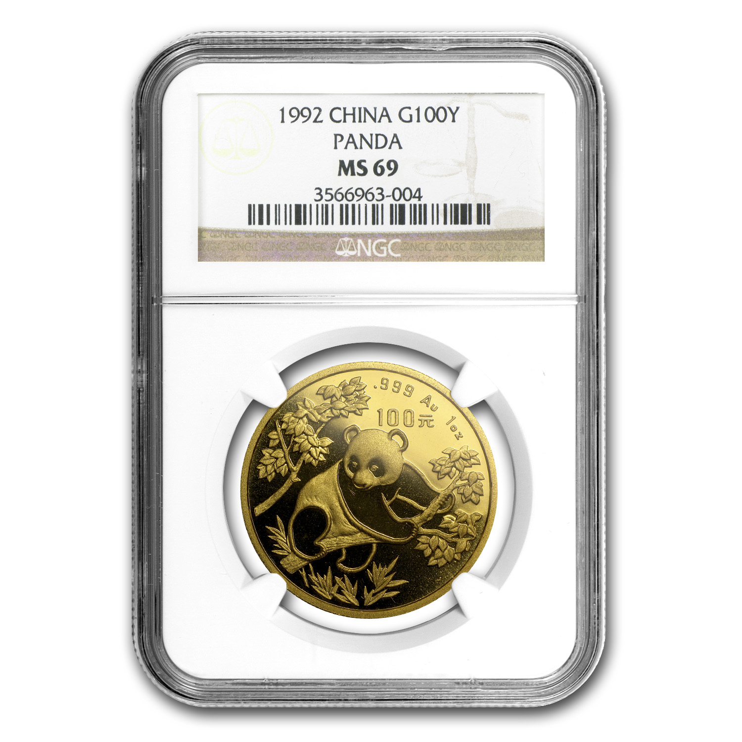 1992 1 oz Gold Chinese Panda MS-69 NGC - Small Date