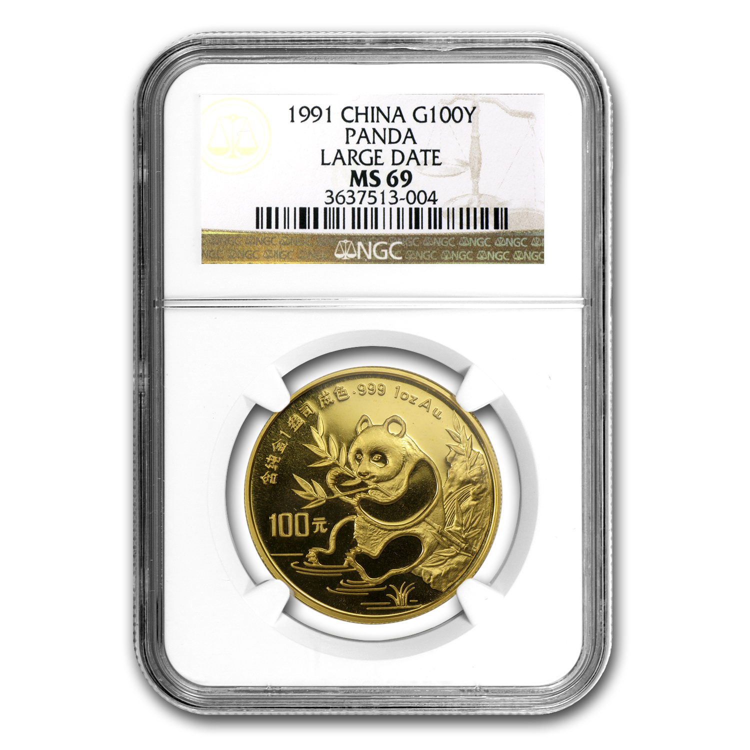 1991 1 oz Gold Chinese Panda MS-69 NGC - Large Date
