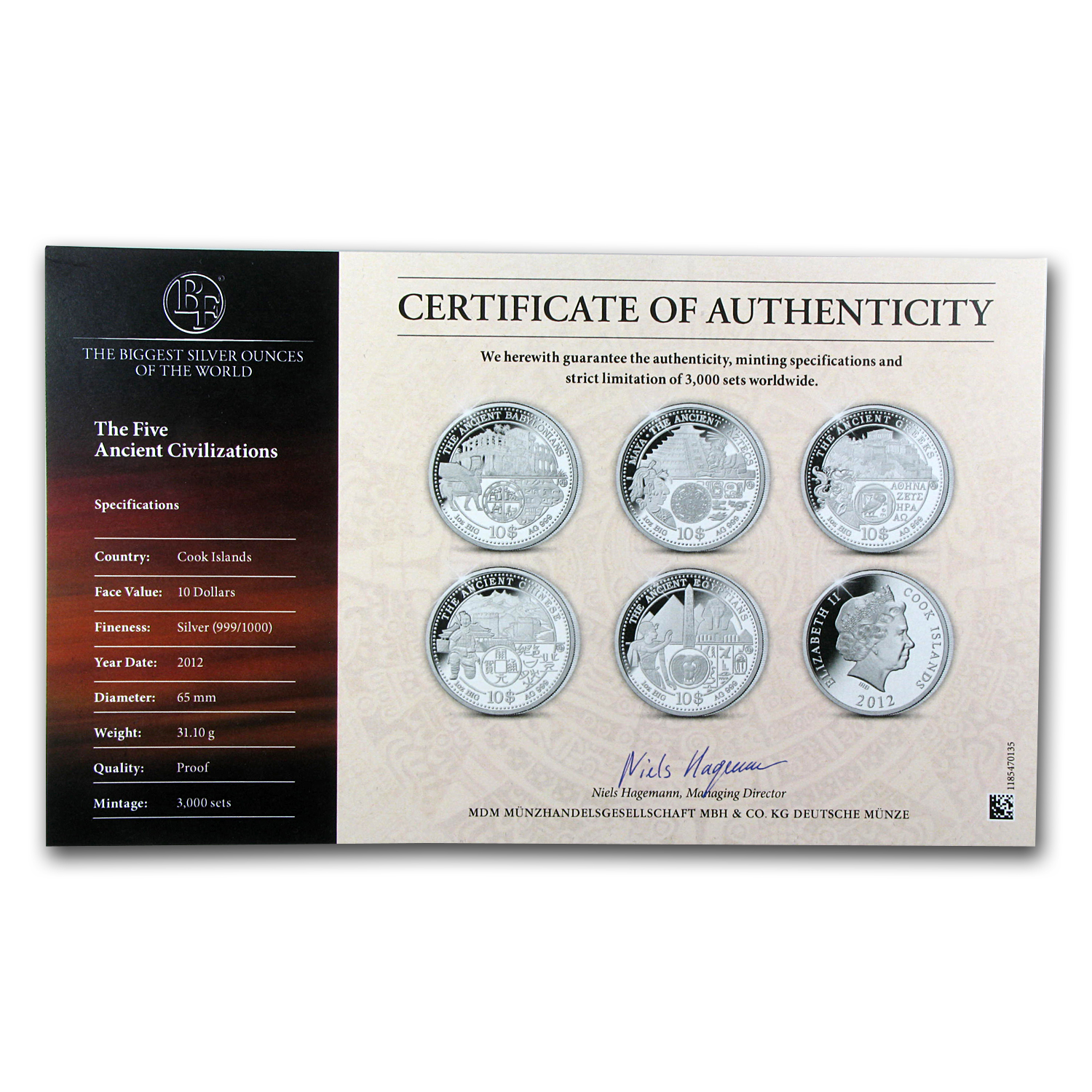 2012 Cook Islands 5-Coin 1 oz Ancient Civilizations 65mm Set