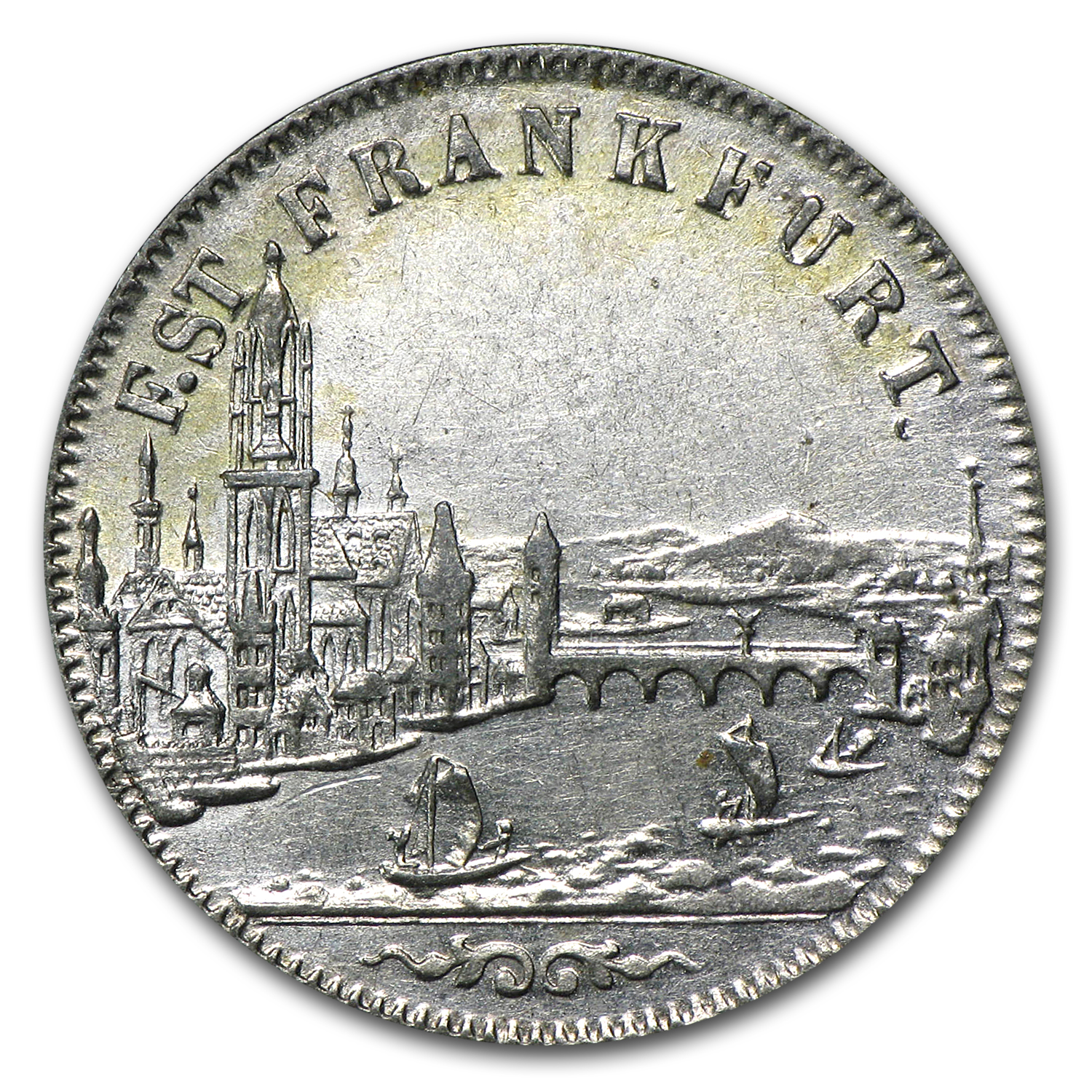 Frankfurt am Main 1853 6 Kreuzer Almost Uncirculated