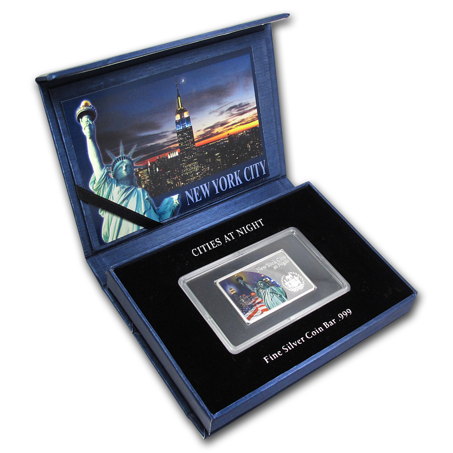 Fiji 2012 1 oz Proof Silver $10 Cities at Night - New York City