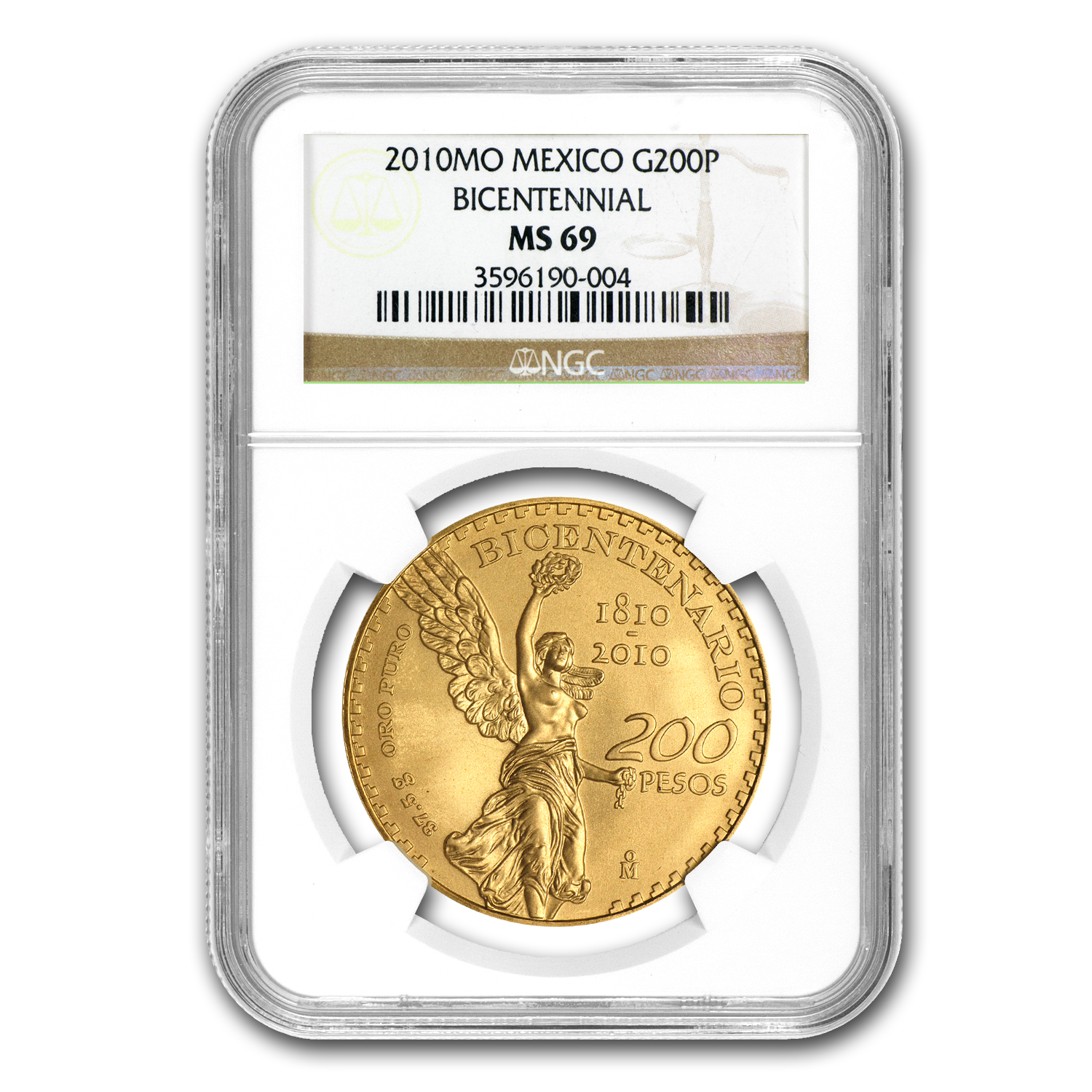 2010 Mexico Gold 200 Pesos Bicentenary Commemorative MS-69 NGC