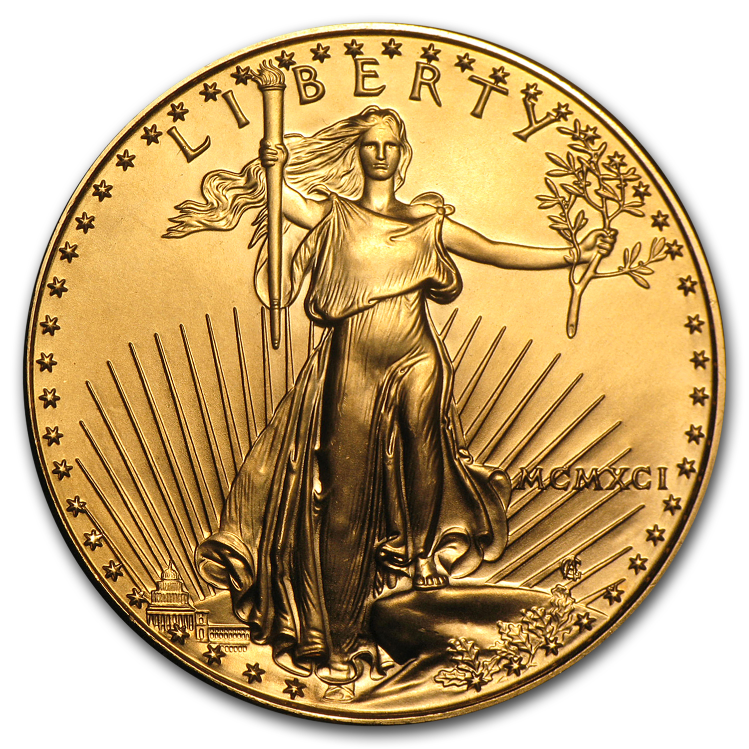 1991 MCMXCI 1 oz Gold American Eagle (BU)