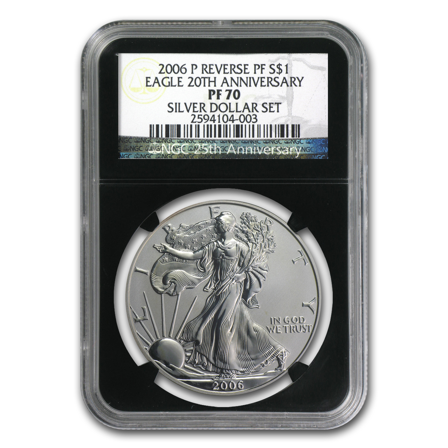 2006-P Reverse Proof Silver Eagle PF-70 NGC (Black Insert)