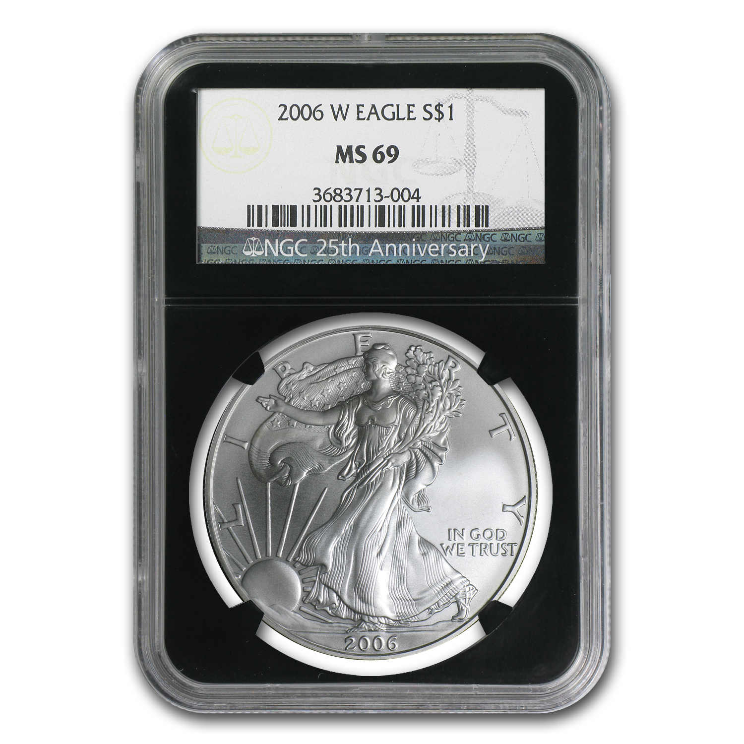 2006-W Burnished Silver American Eagle MS-69 NGC (Black Insert)