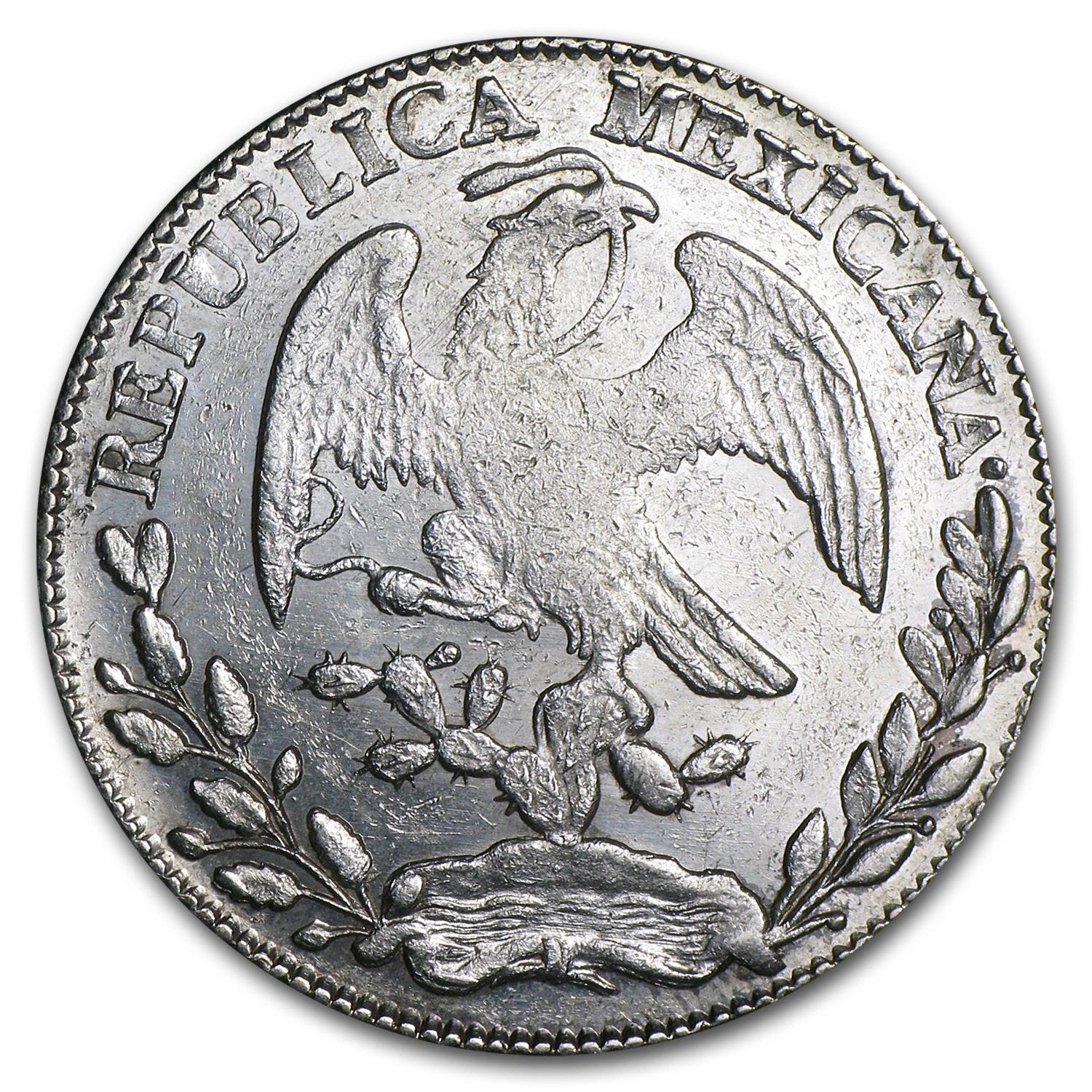 1864 Zs MO Mexico Silver 8 Reales AU Details (ASW .7859 oz)