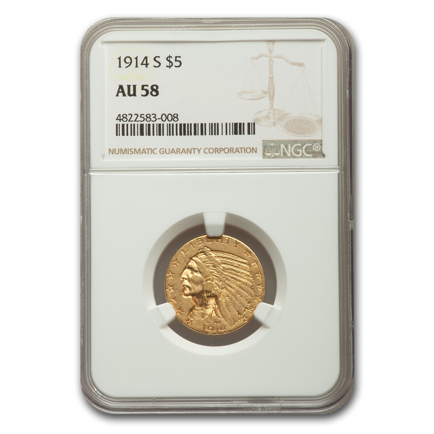 1914-S $5 Indian Gold Half Eagle - AU-58 NGC