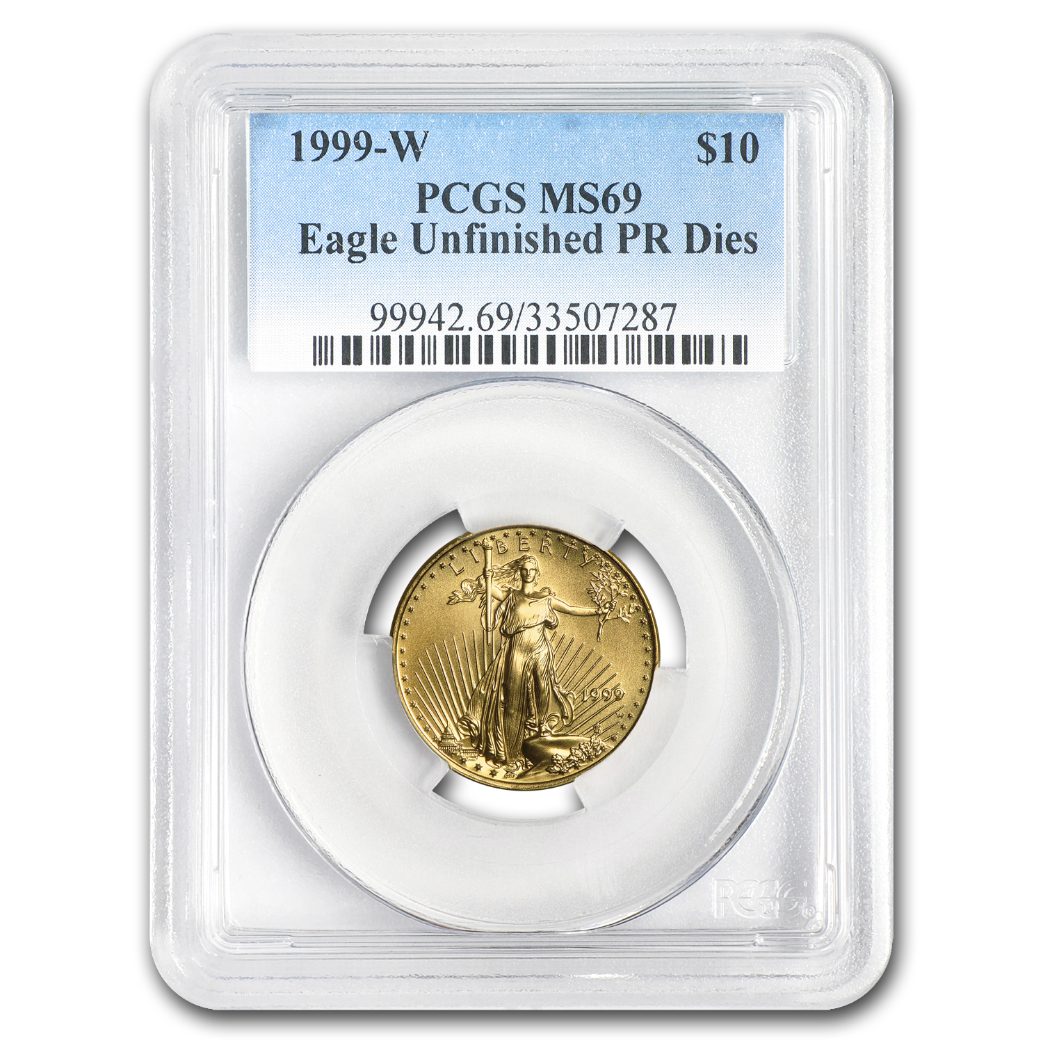 1999-W 1/4 oz Gold American Eagle MS-69 PCGS (W Variety)