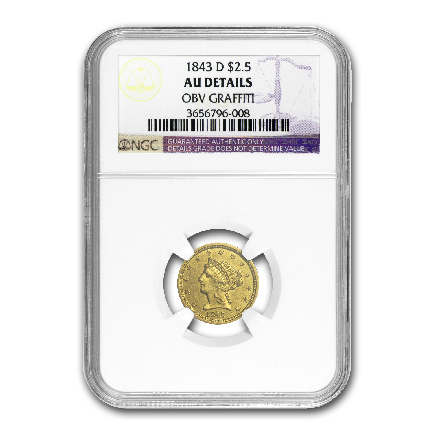 1843-D $2.50 Liberty Gold Small Date AU Details NGC