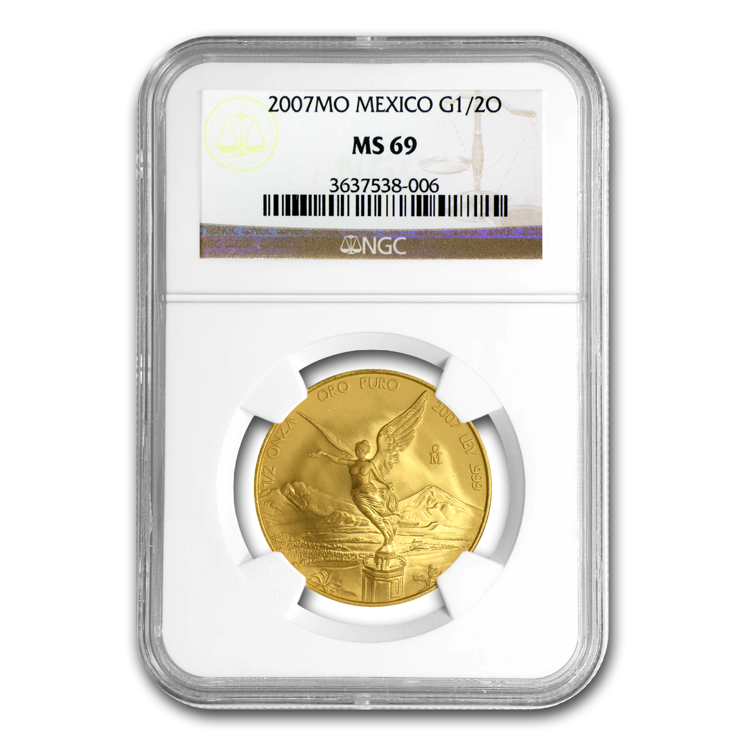2007 1/2 oz Gold Mexican Libertad MS-69 NGC