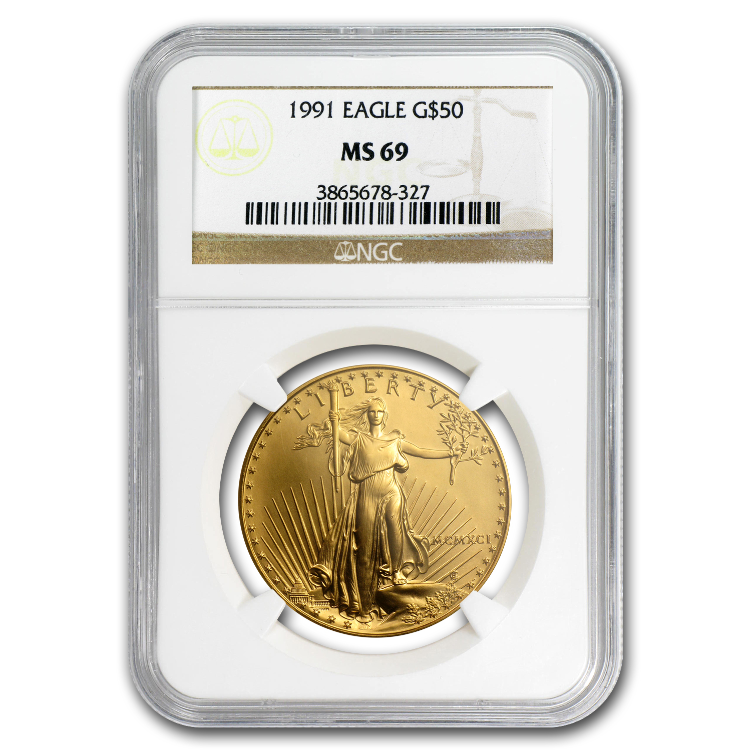 1991 1 oz Gold American Eagle MS-69 NGC