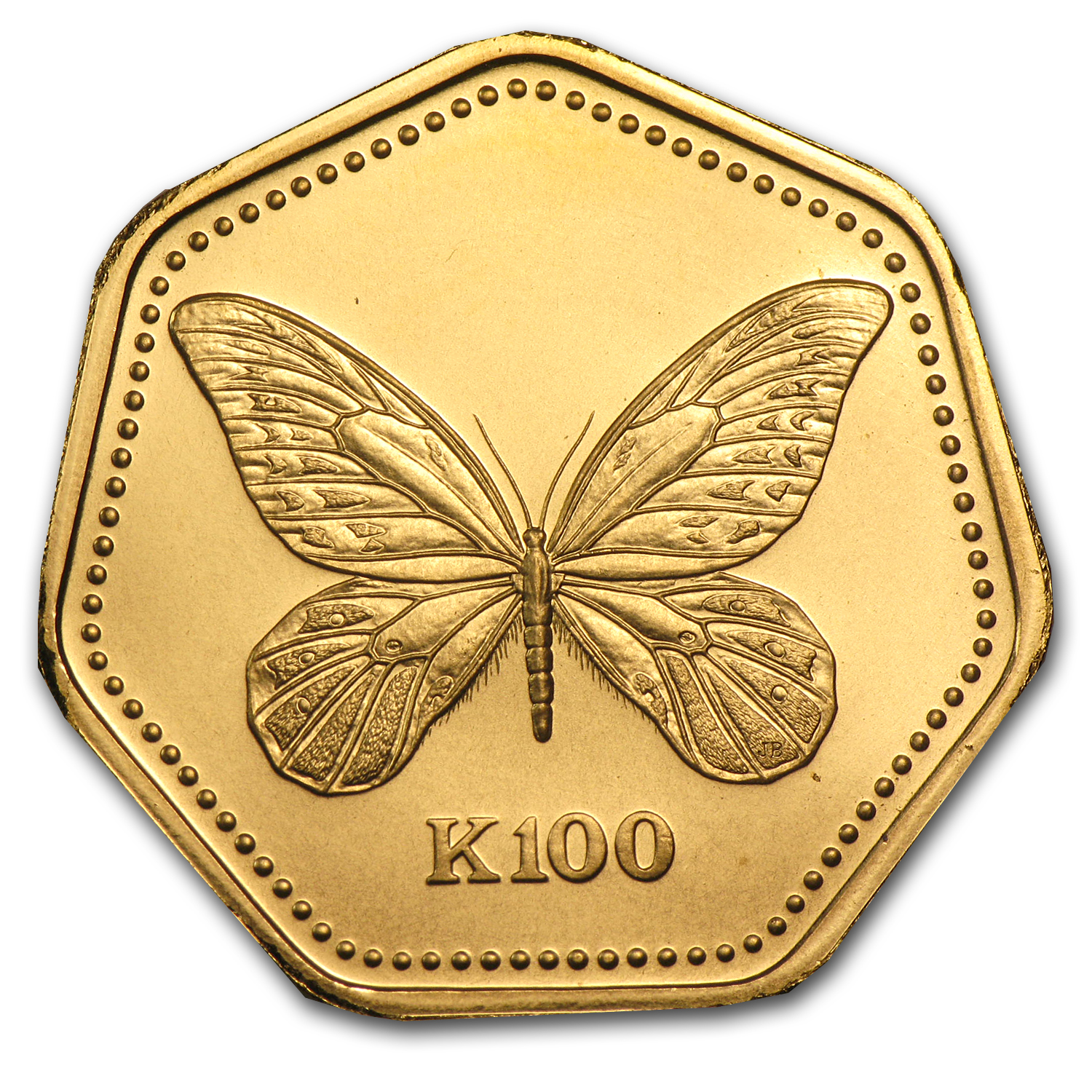 Papua New Guinea 1990 Gold 100 Kina UNC Butterfly