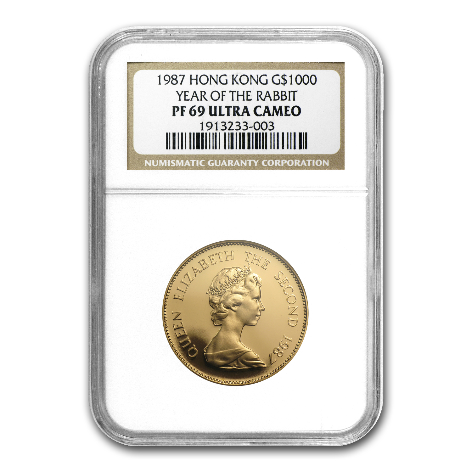 Hong Kong 1987 1000 Dollars Gold Rabbit PF-69 UCAM NGC