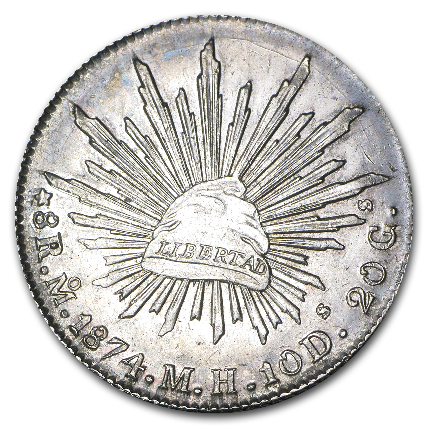 Mexico 1874 Mo M.H. 8 Reales Silver AU