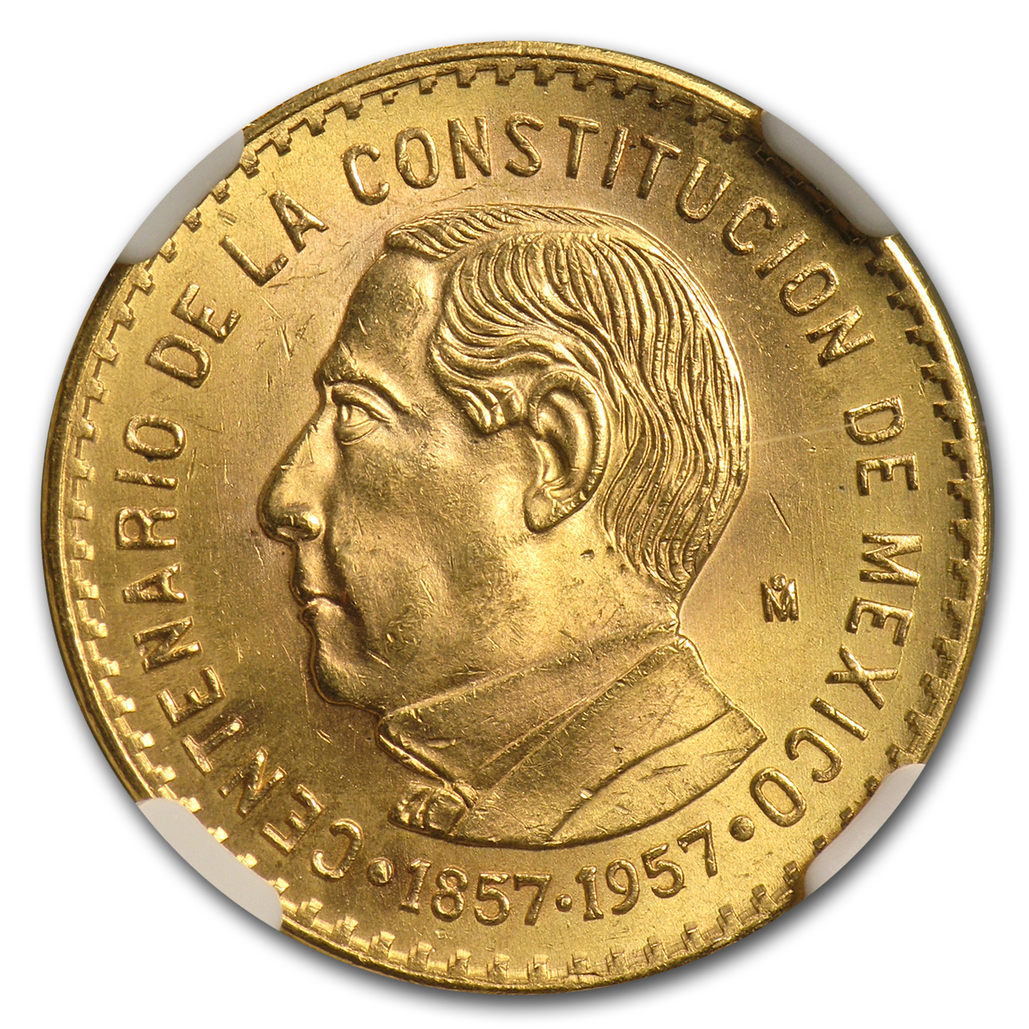1957 Mexico Centennial of the Constitution Gold MS-64 NGC