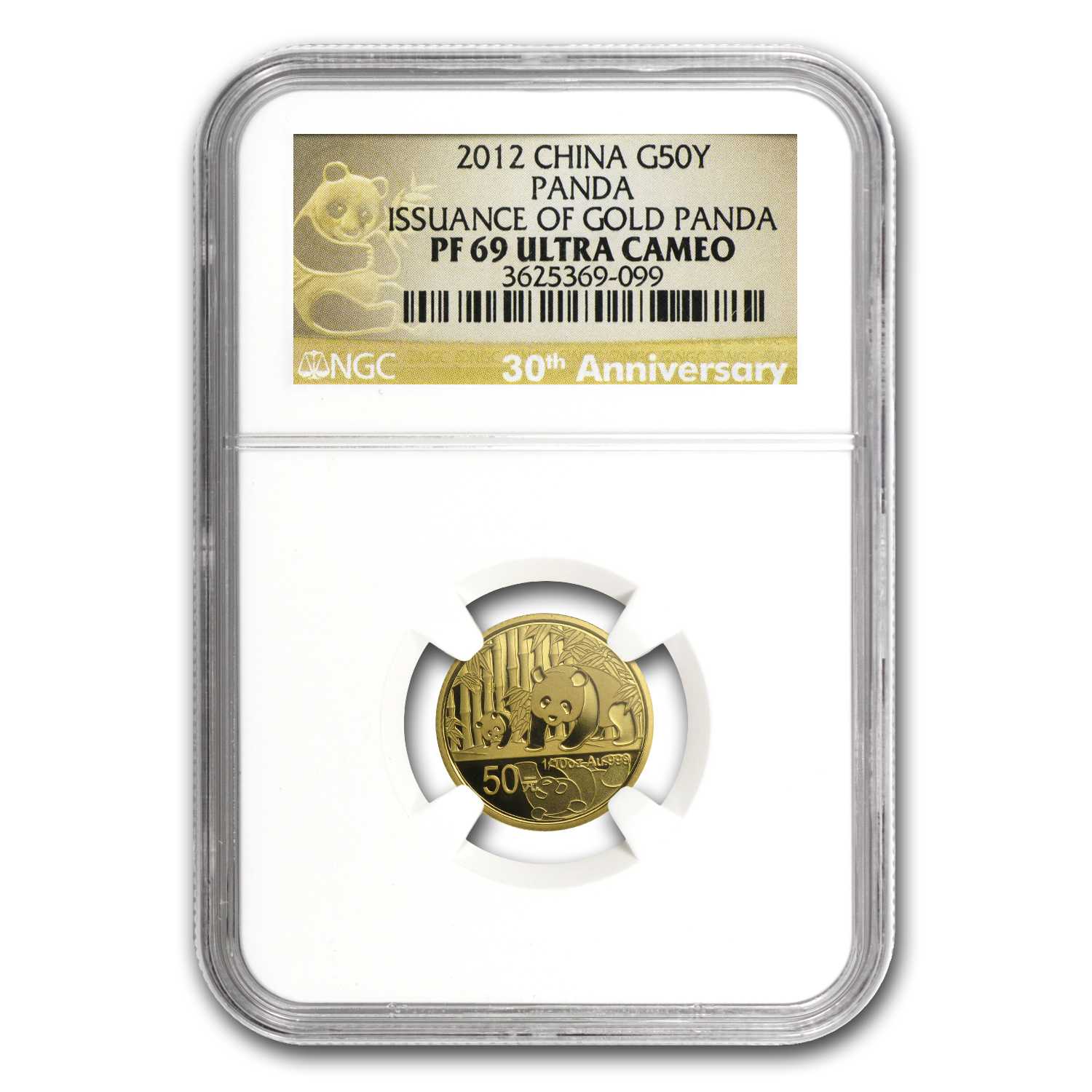 2012 China 1/10 oz Proof Gold Panda PF-69 NGC (30th Anniv)