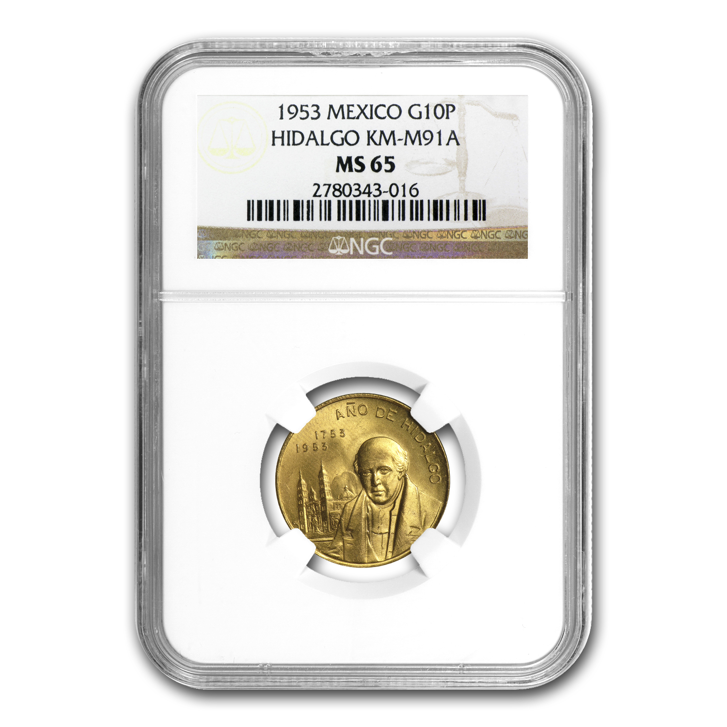 1953 Mexico Year of Hidalgo Gold Medal MS-65 NGC
