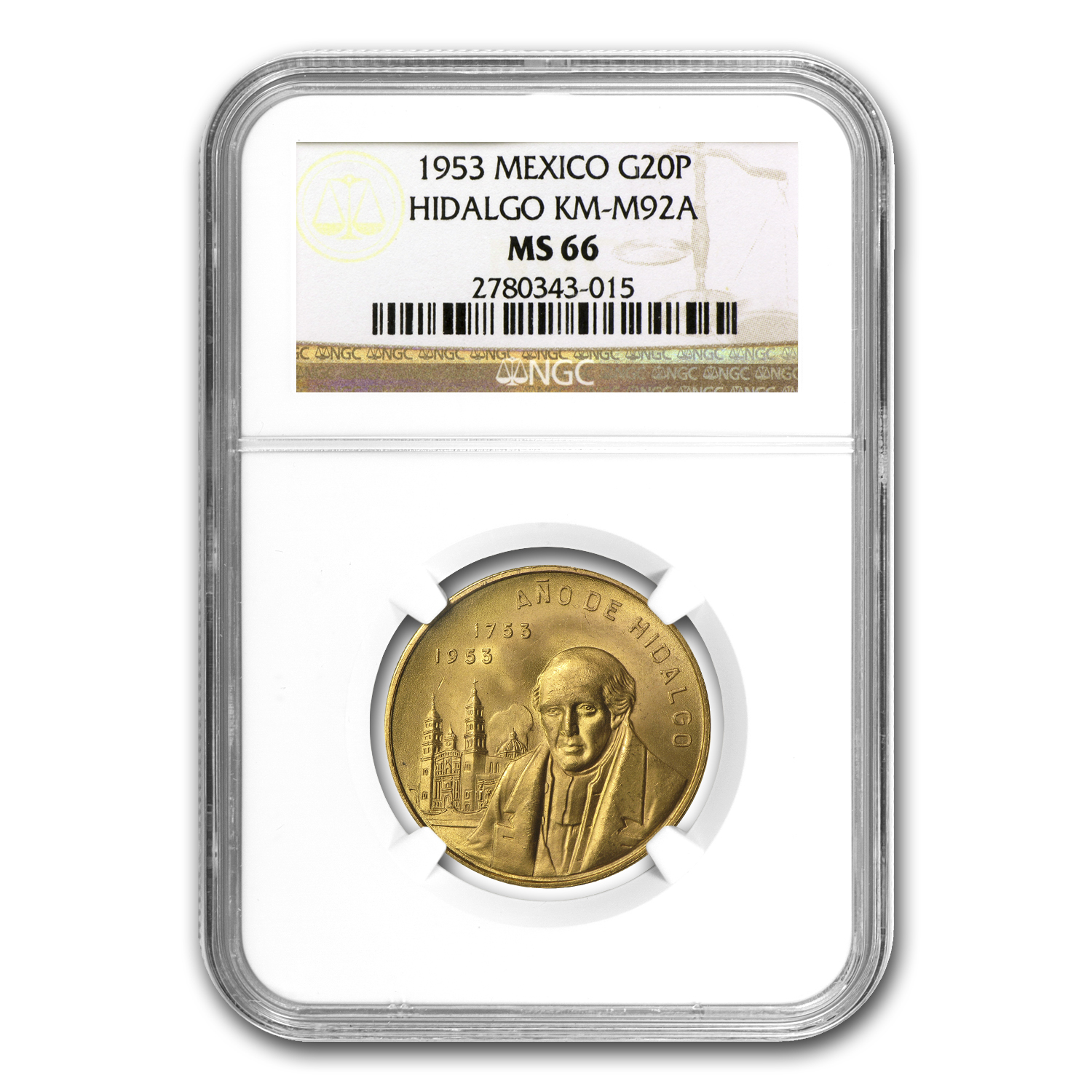 1953 Mexico Year of Hidalgo Gold Medal MS-66 NGC