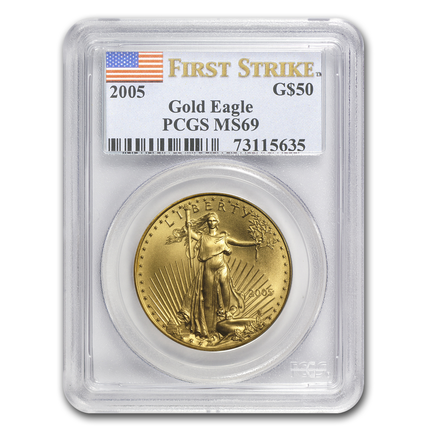 2005 1 oz Gold American Eagle MS-69 PCGS (FS)