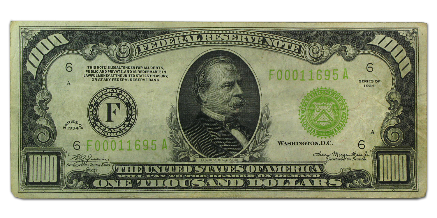 1934 (F-Atlanta) $1,000 FRN (Very Fine) LGS