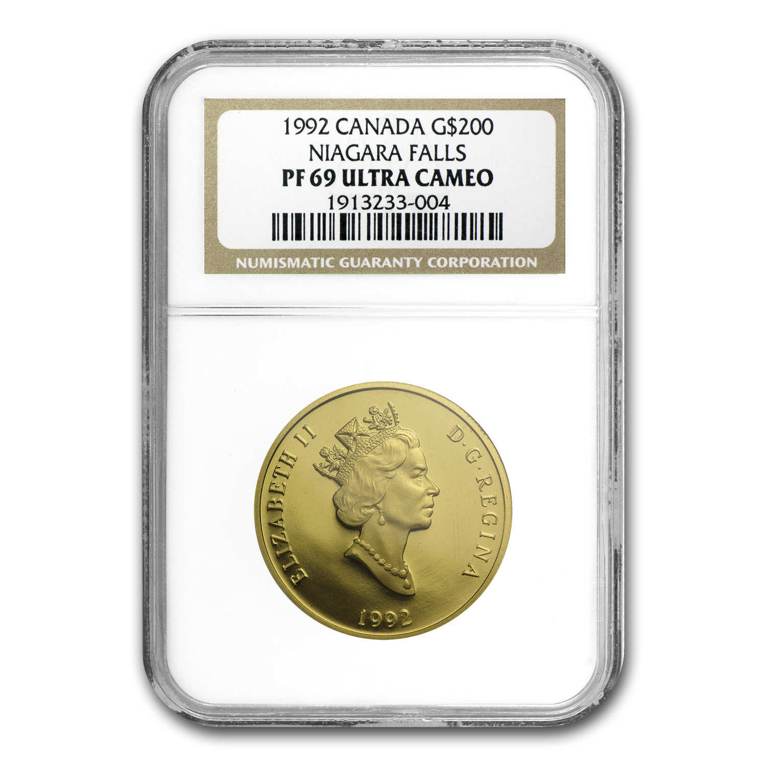 1992 1/2 oz Gold Canadian $200 Proof - Niagara Falls NGC PF-69