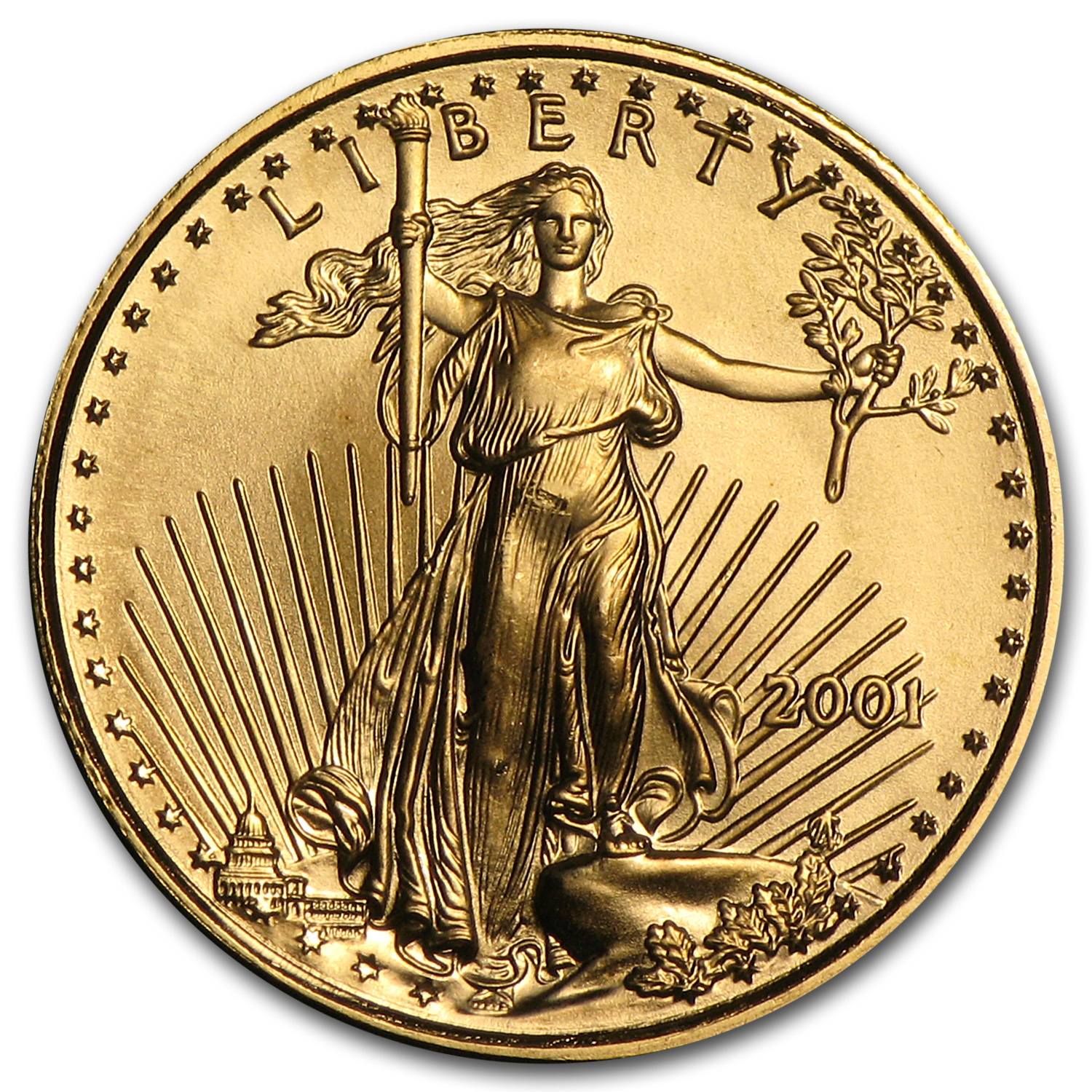 2001 1/10 oz Gold American Eagle BU