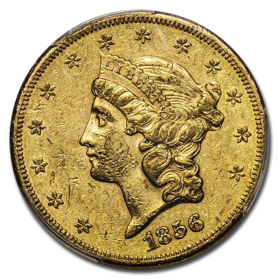 1856-S $20 Gold Liberty Double Eagle - AU-50 PCGS