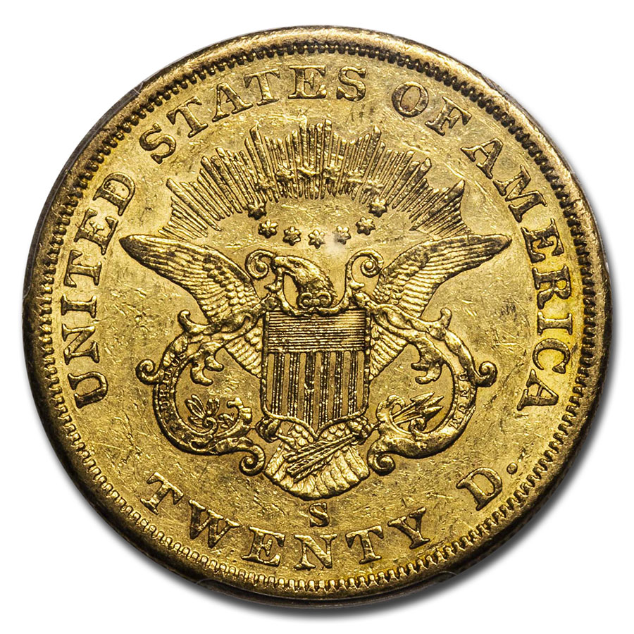1856-S $20 Gold Liberty Double Eagle AU-50 PCGS