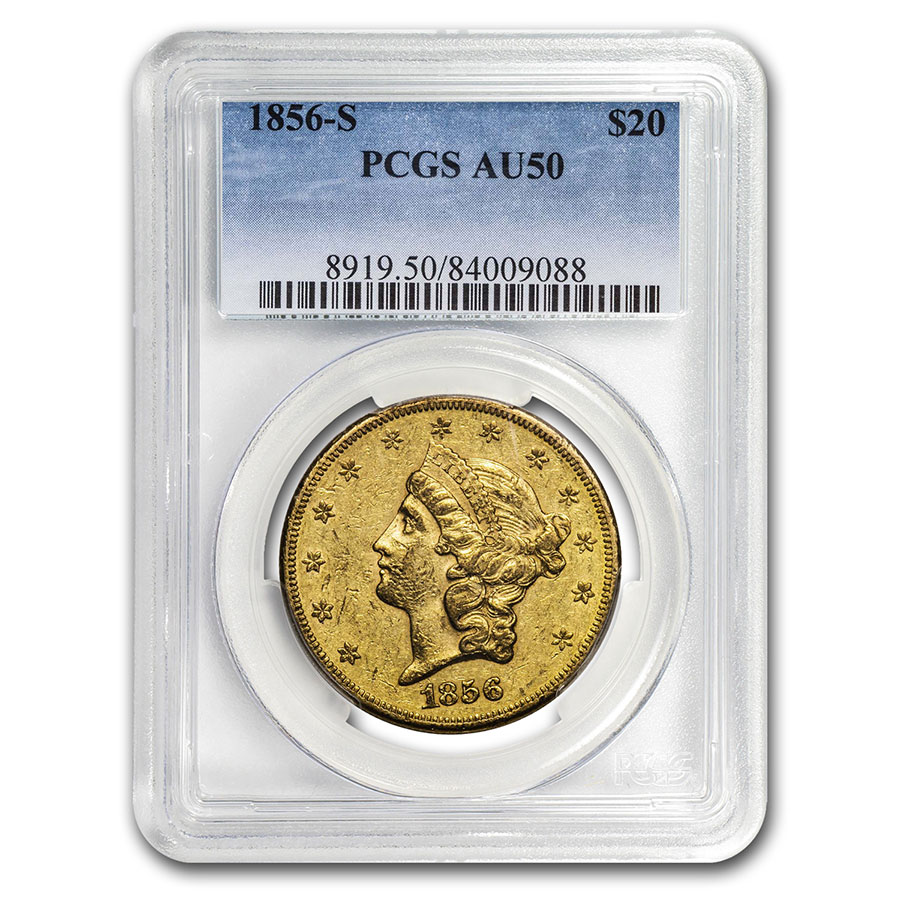 1856-S $20 Liberty Gold Double Eagle AU-50 PCGS