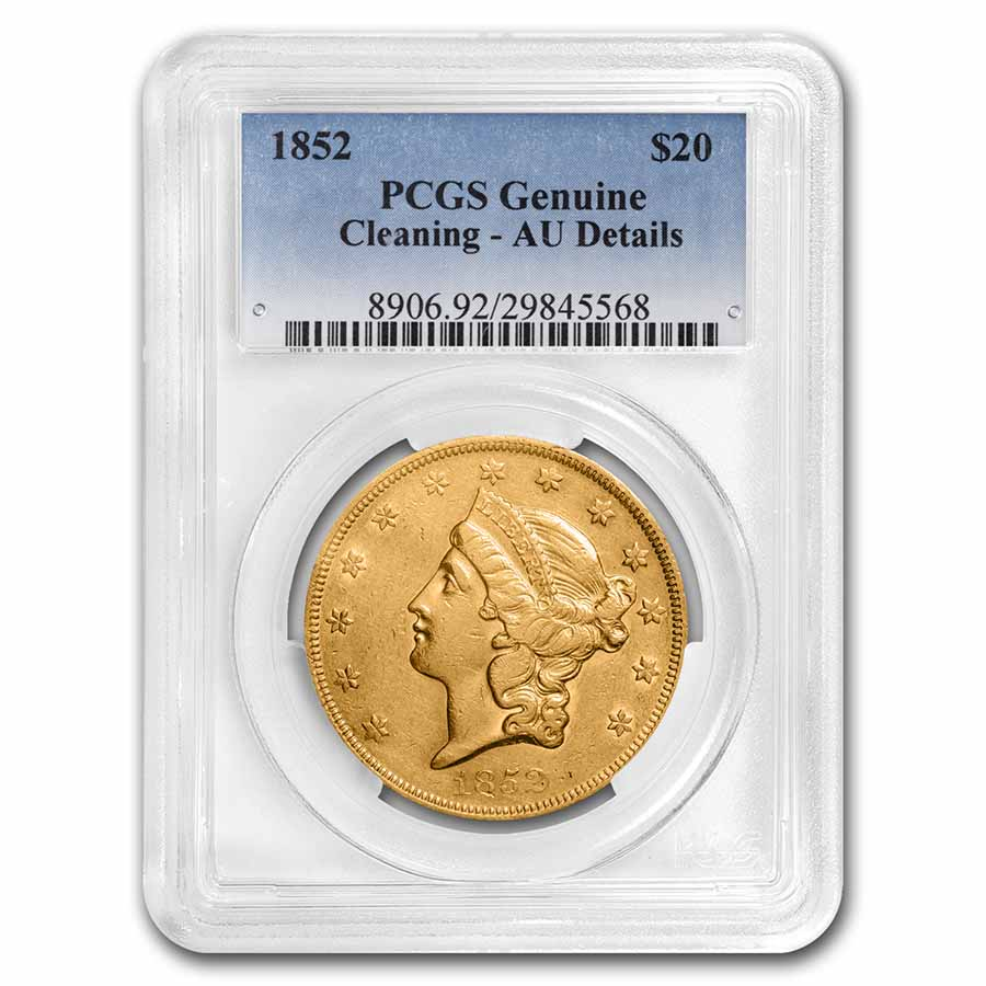 1852 $20 Gold Liberty Double Eagle - (AU Details) - PCGS
