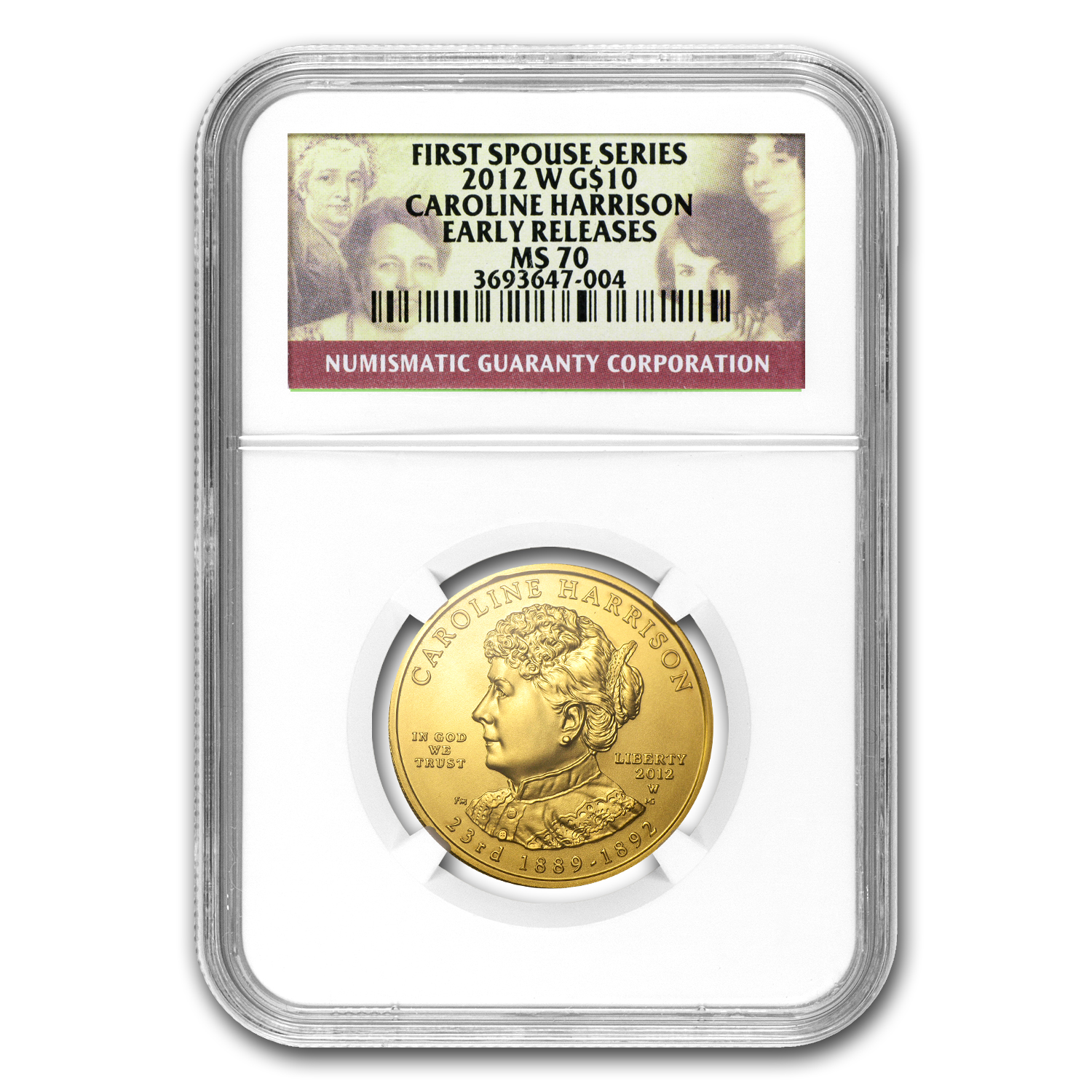 2012-W 1/2 oz Gold Caroline Harrison MS-70 NGC (Early Release)