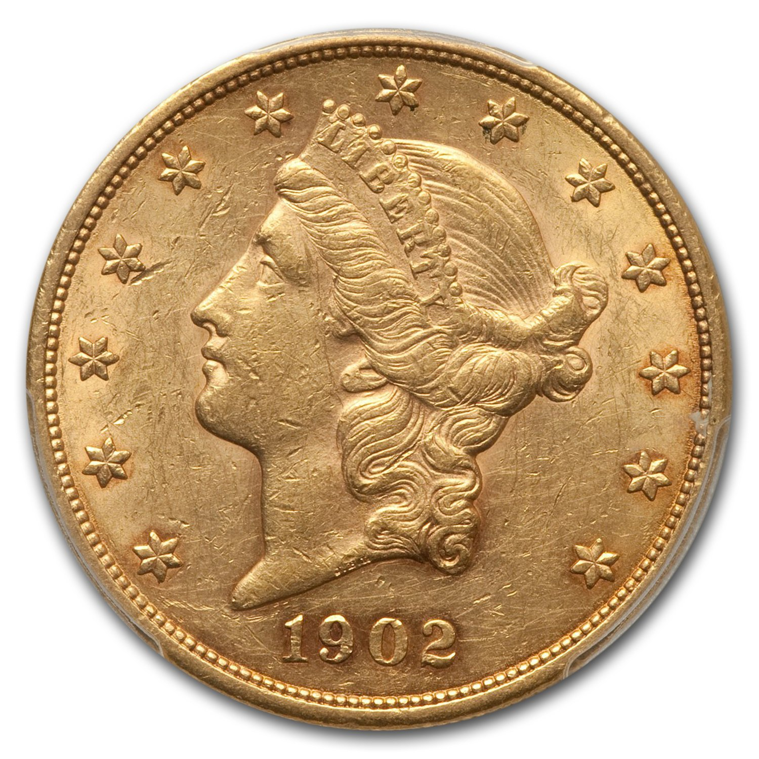 1902 $20 Gold Liberty Double Eagle AU-55 PCGS