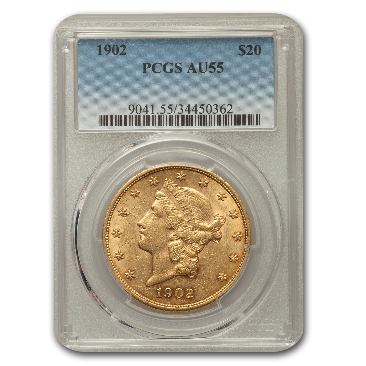 1902 $20 Liberty Gold Double Eagle AU-55 PCGS