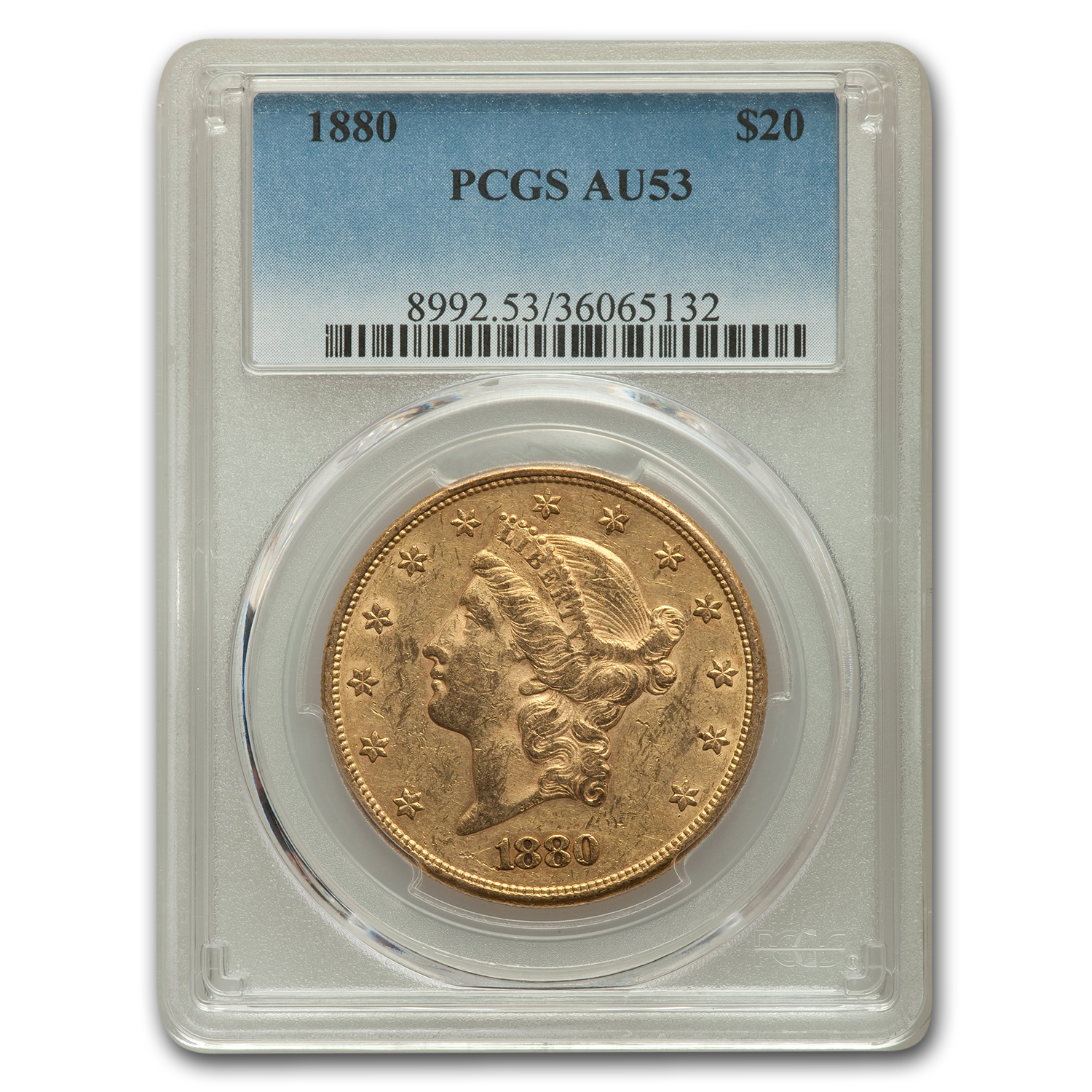 1880 $20 Gold Liberty Double Eagle AU-53 PCGS