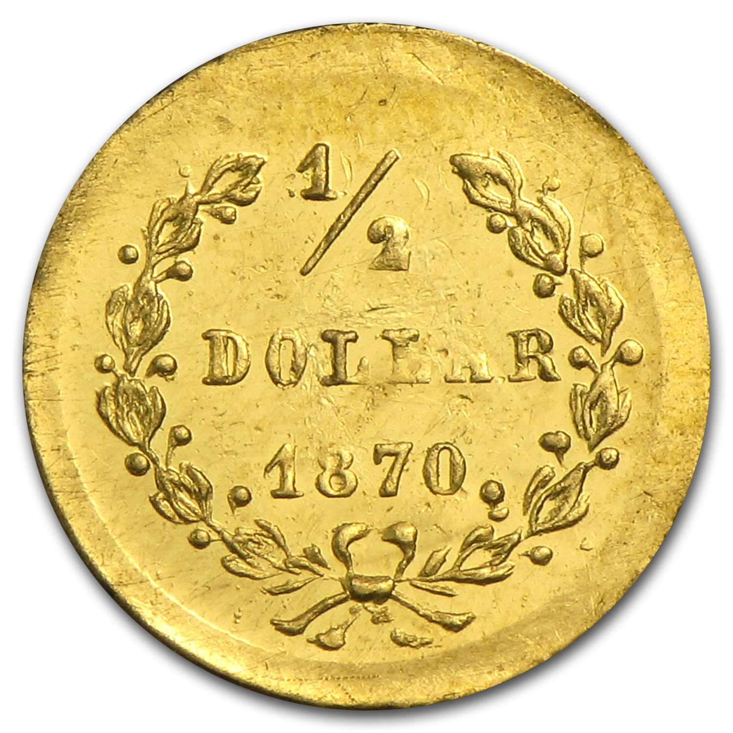 1870 BG-1047 Liberty Round 50 Cent Gold MS-61